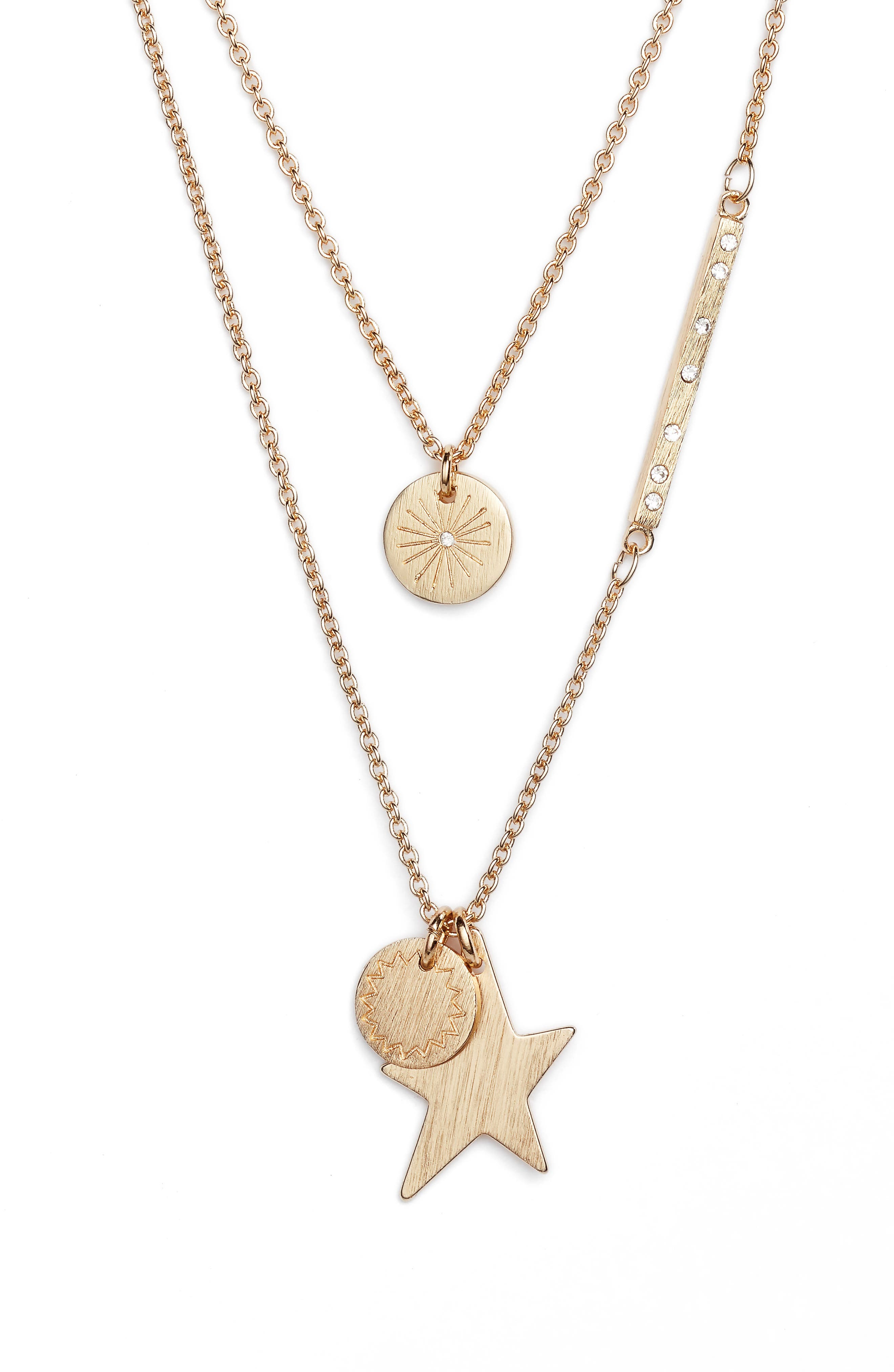 Medallion Layered Pendant Necklace,                         Main,                         color, Gold
