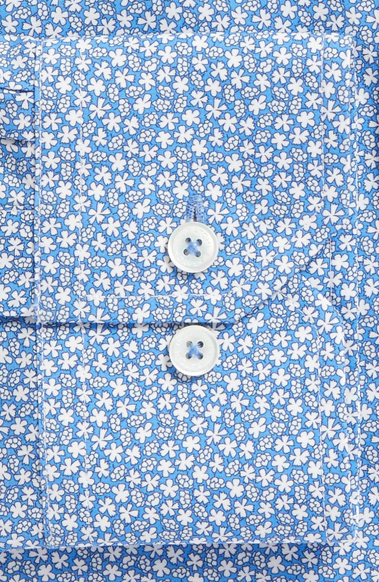 Trim Fit Print Dress Shirt,                             Alternate thumbnail 5, color,                             Classic Blue