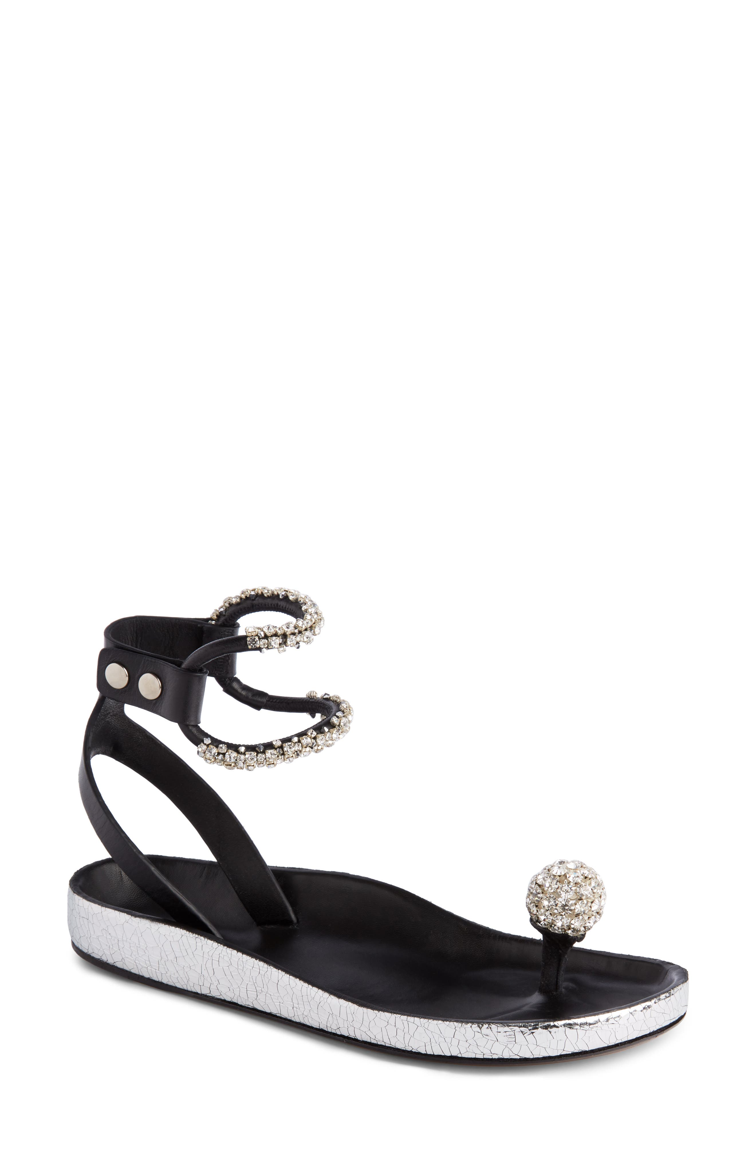 Ecly Crystal-embellished Smooth And Cracked-leather Sandals - Silver Isabel Marant JvWlNsMz4E