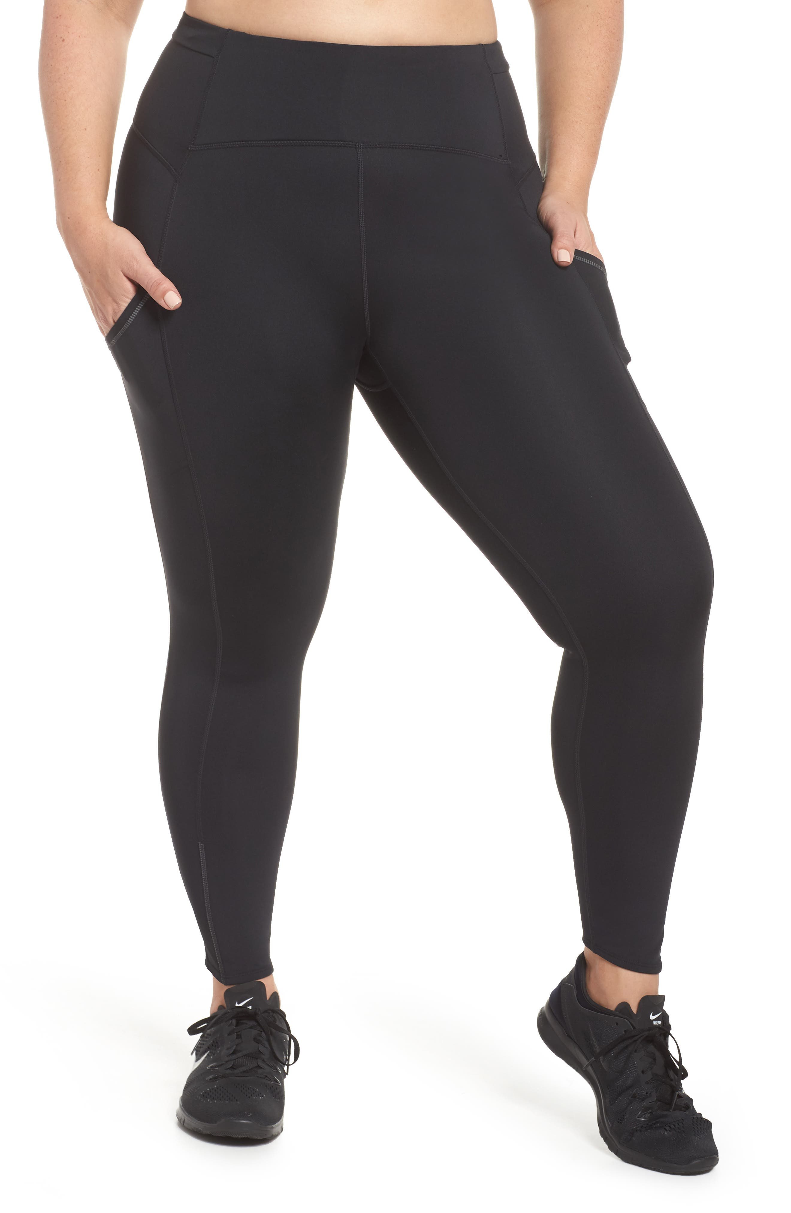Sprint In High Waist Midi Leggings,                             Main thumbnail 1, color,                             Black