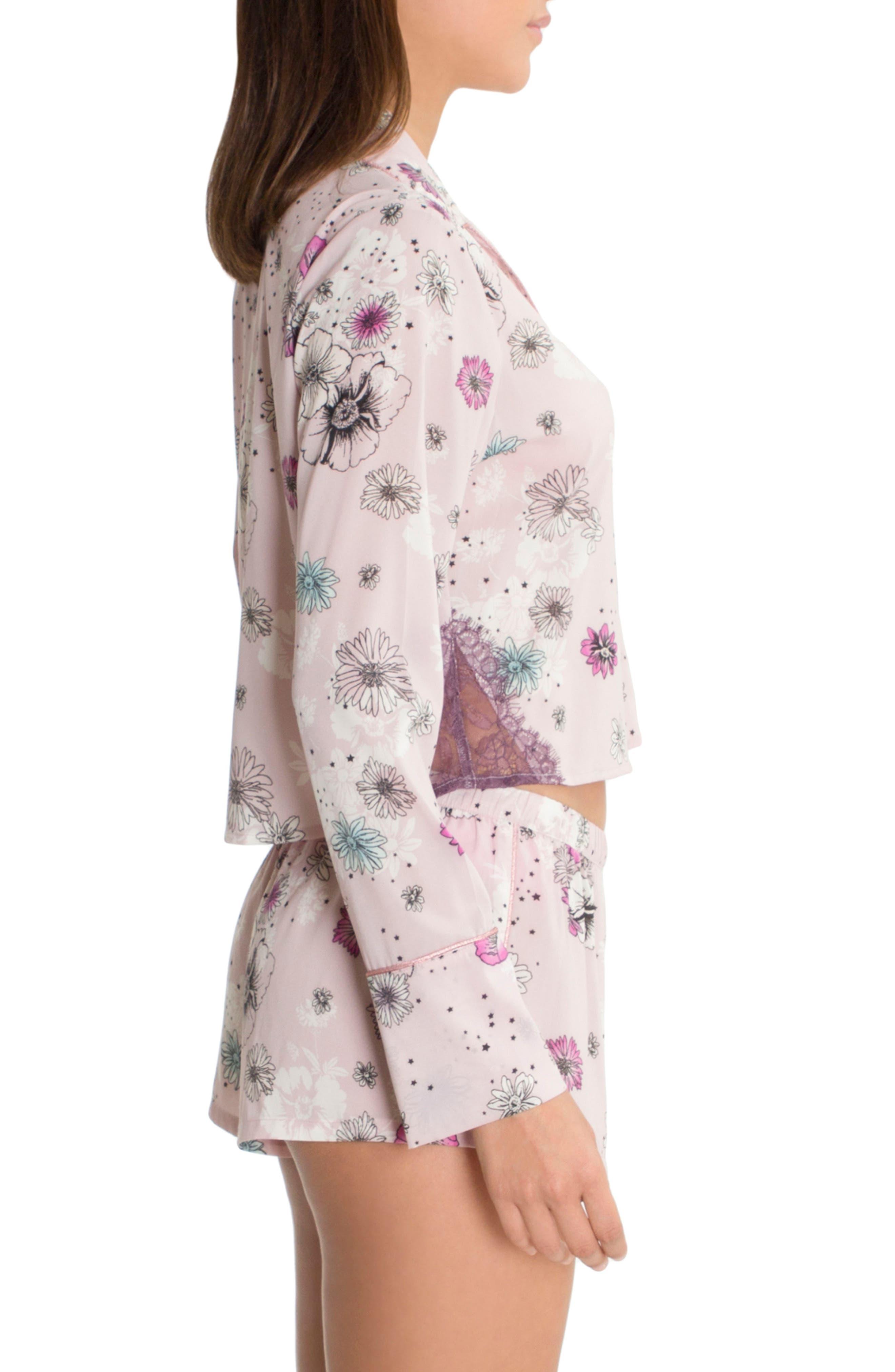 Crop Pajama Top,                             Alternate thumbnail 3, color,                             Lilac