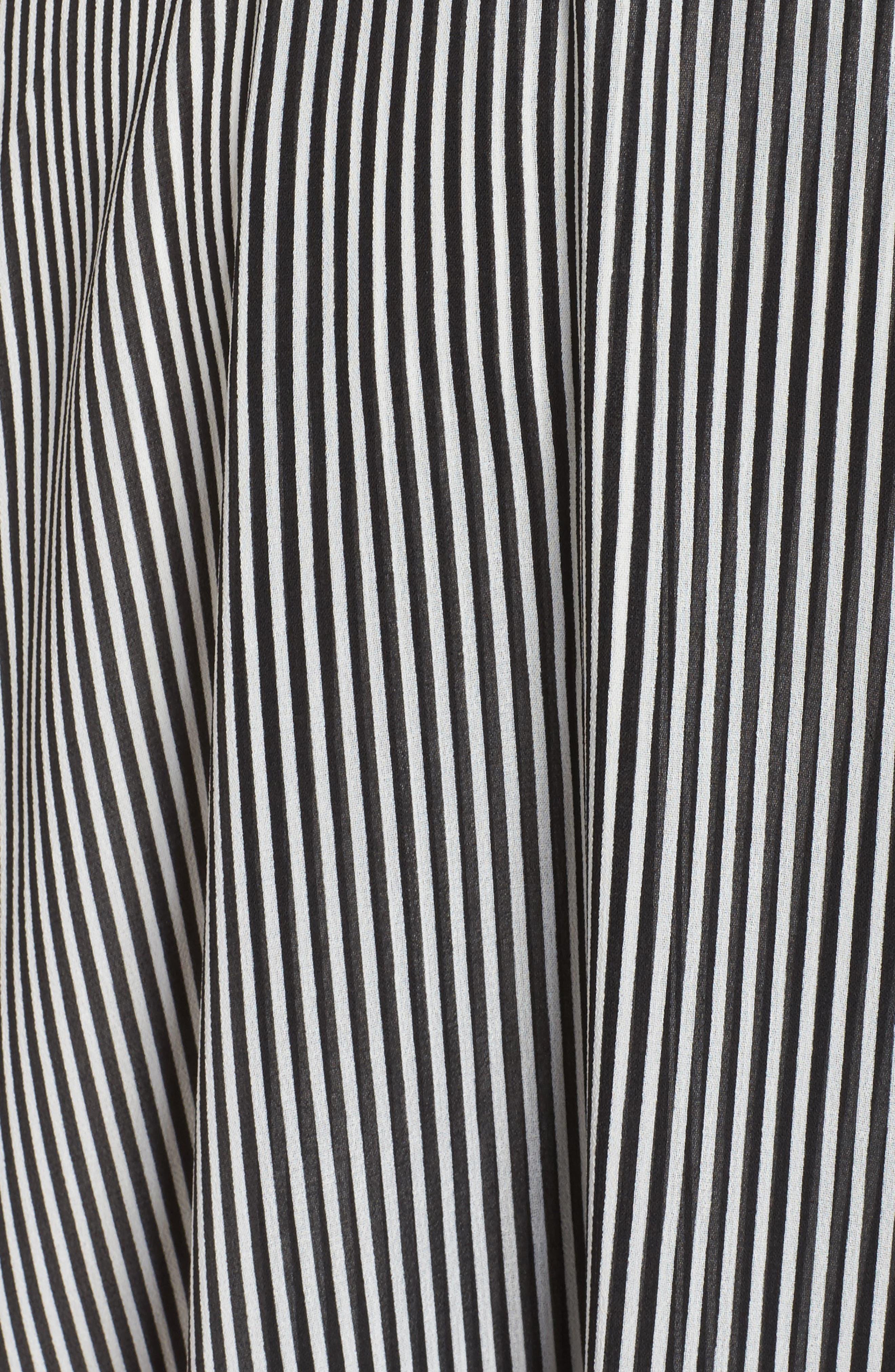 Ruffle Stripe Faux Wrap Midi Dress,                             Alternate thumbnail 4, color,                             Ivory/ Black