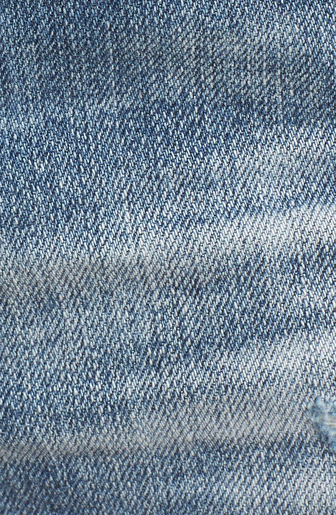 The Bryn High Waist Cutoff Denim Shorts,                             Alternate thumbnail 5, color,                             Indigo Deluge Destructed