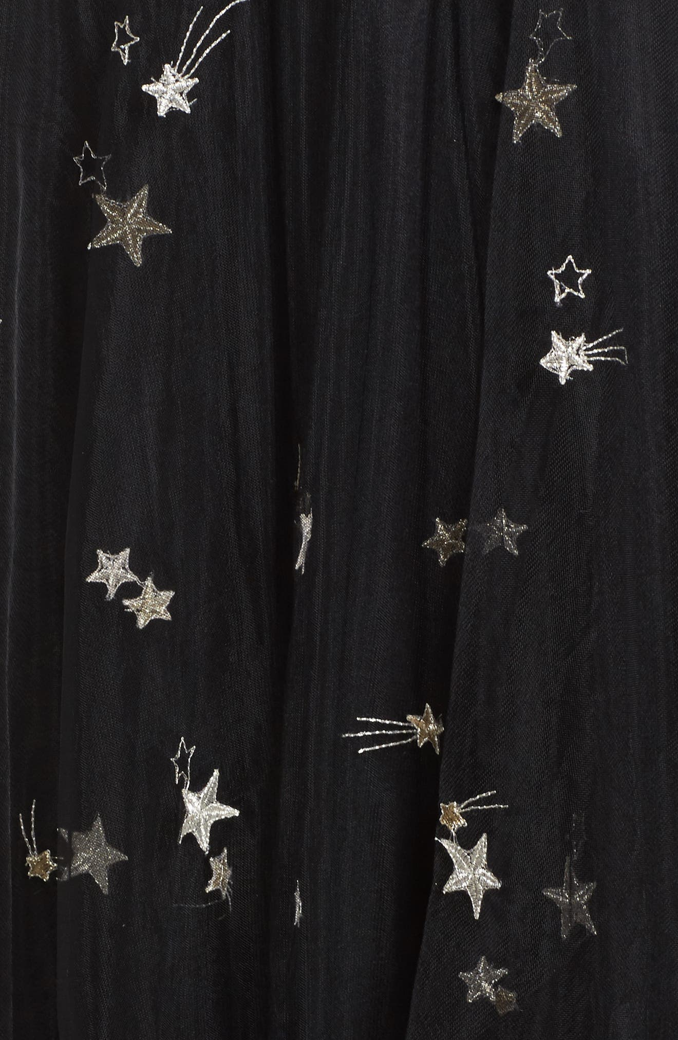 Chelsea Starry Night Embroidered Halter Maxi Dress,                             Alternate thumbnail 5, color,                             Black/ Metallic