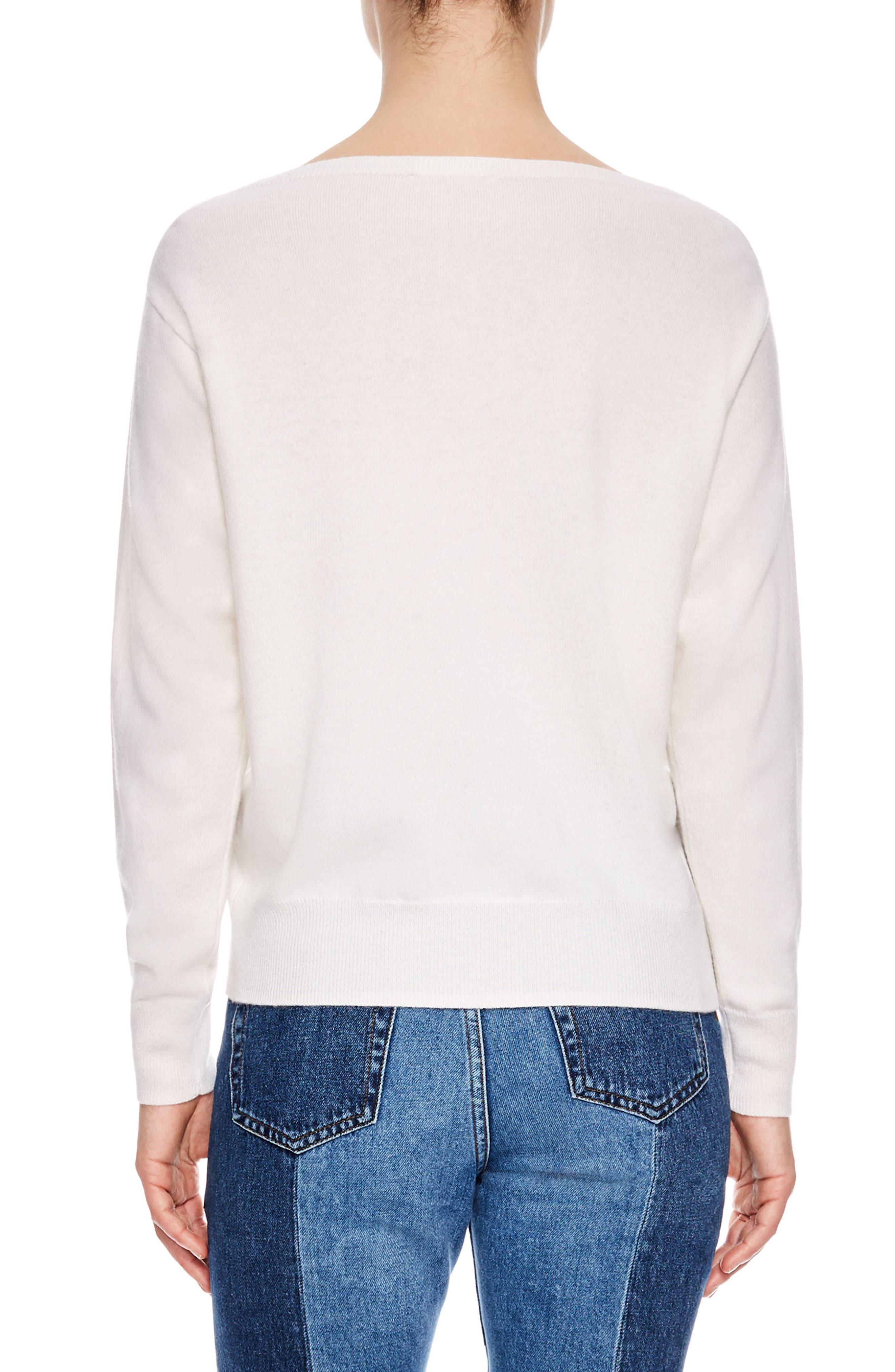 Keyhole Wool & Cashmere Sweater,                             Alternate thumbnail 2, color,                             Ecru