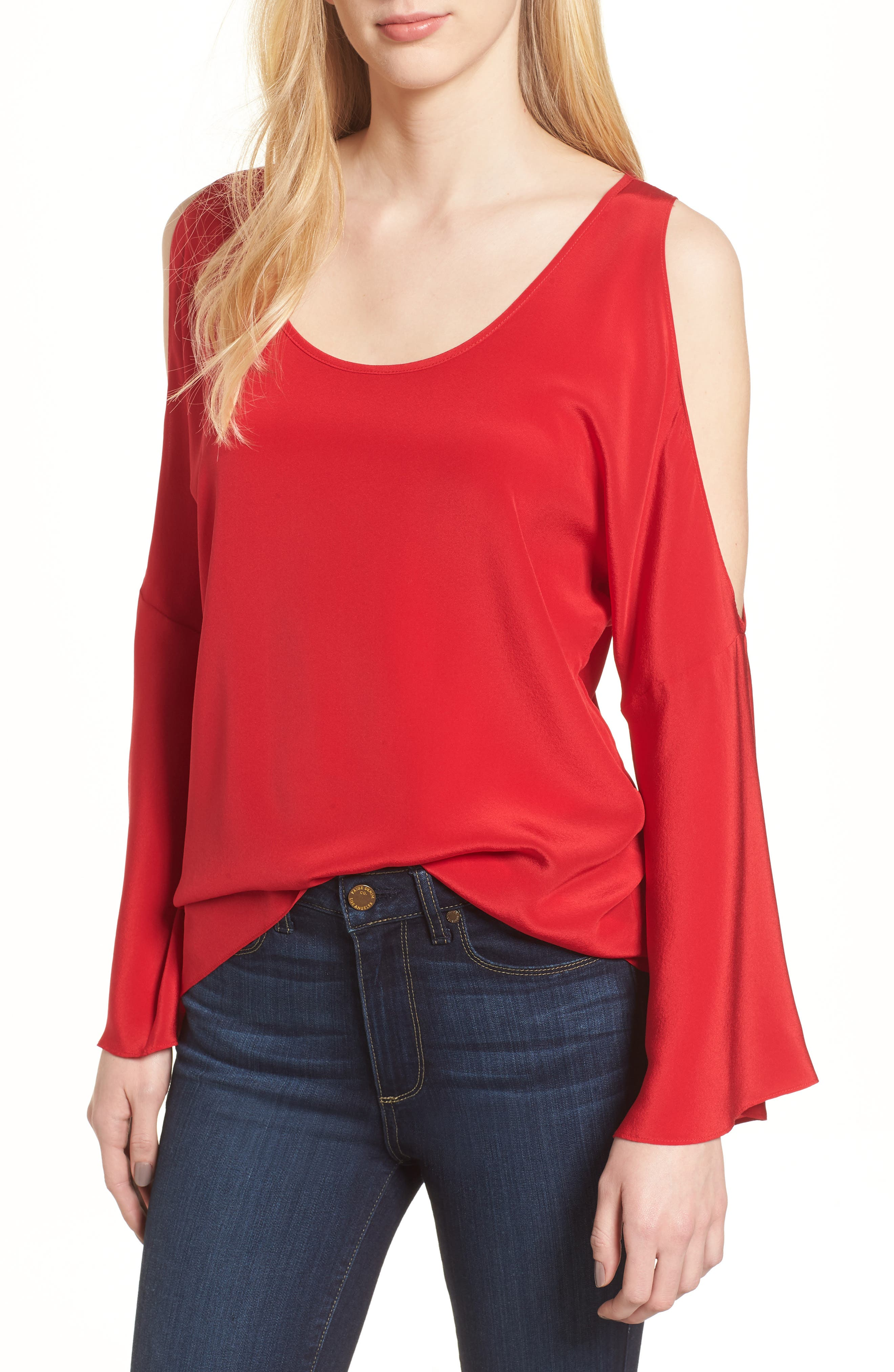 Bonsai Cold Shoulder Silk Top,                         Main,                         color, Red