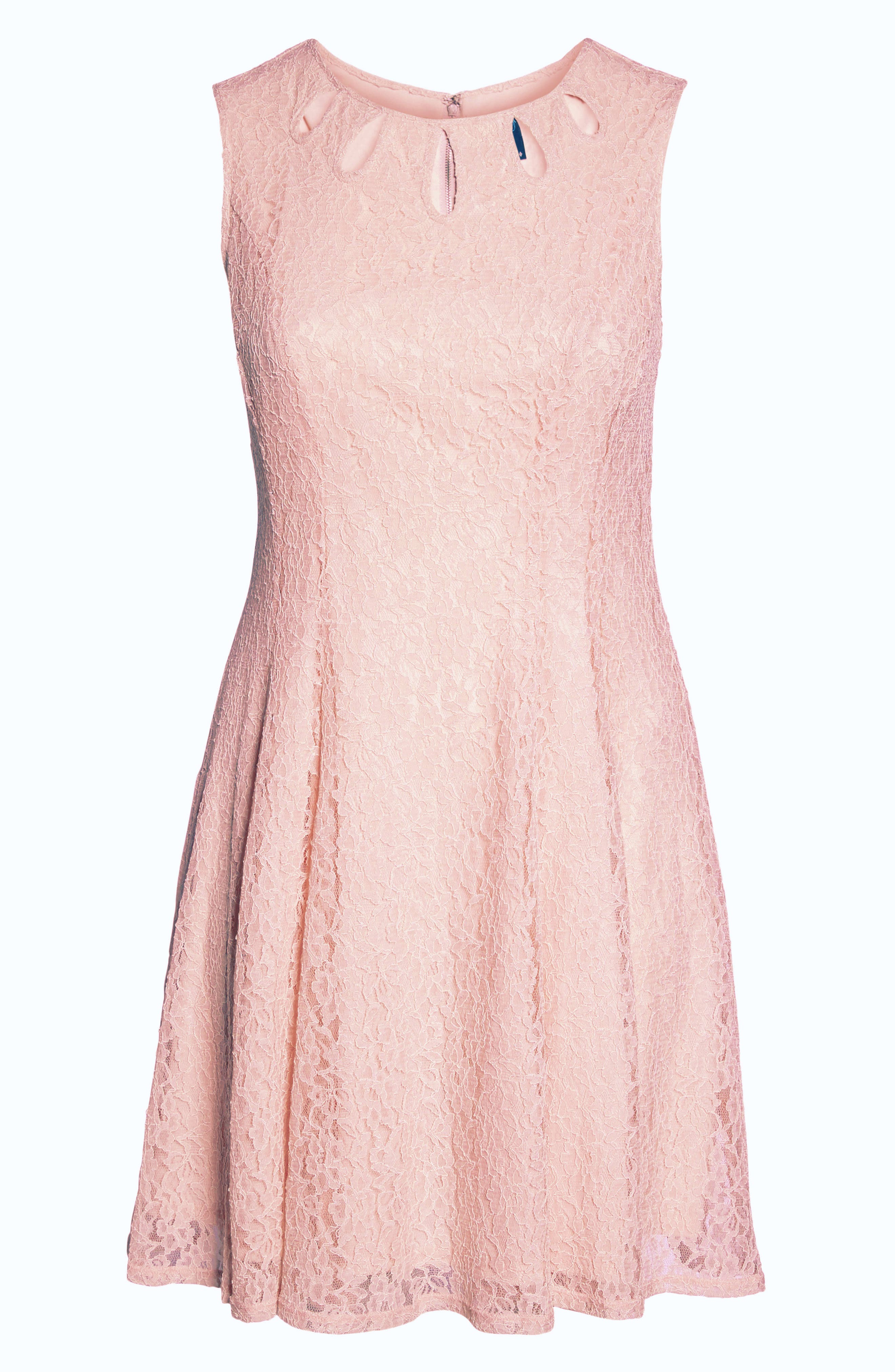 Lace Teardrop Cutout Fit and Flare Dress,                             Alternate thumbnail 6, color,                             Pink/ Pink