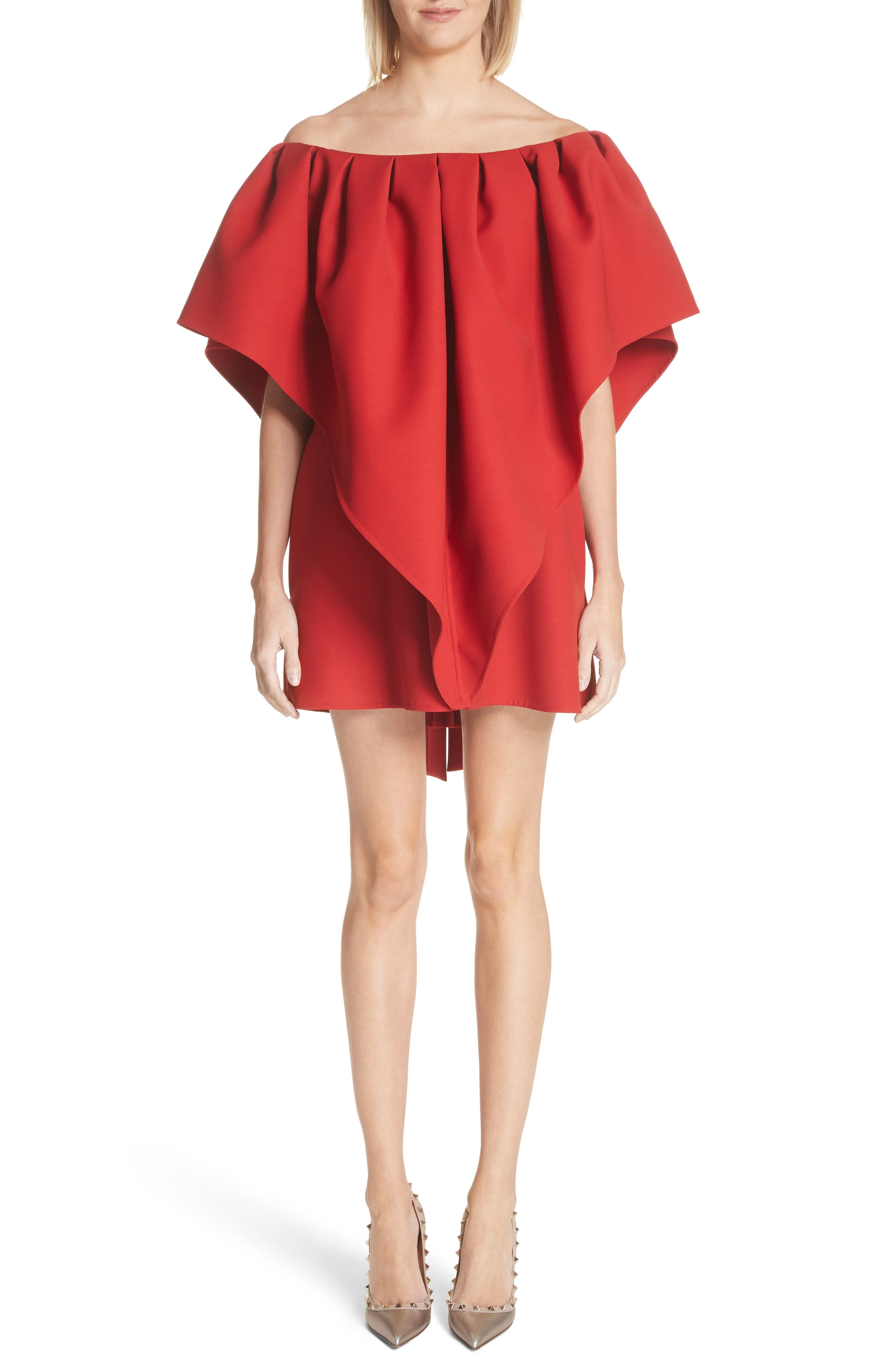 Very Valentino Off the Shoulder Dress,                             Main thumbnail 1, color,                             Red