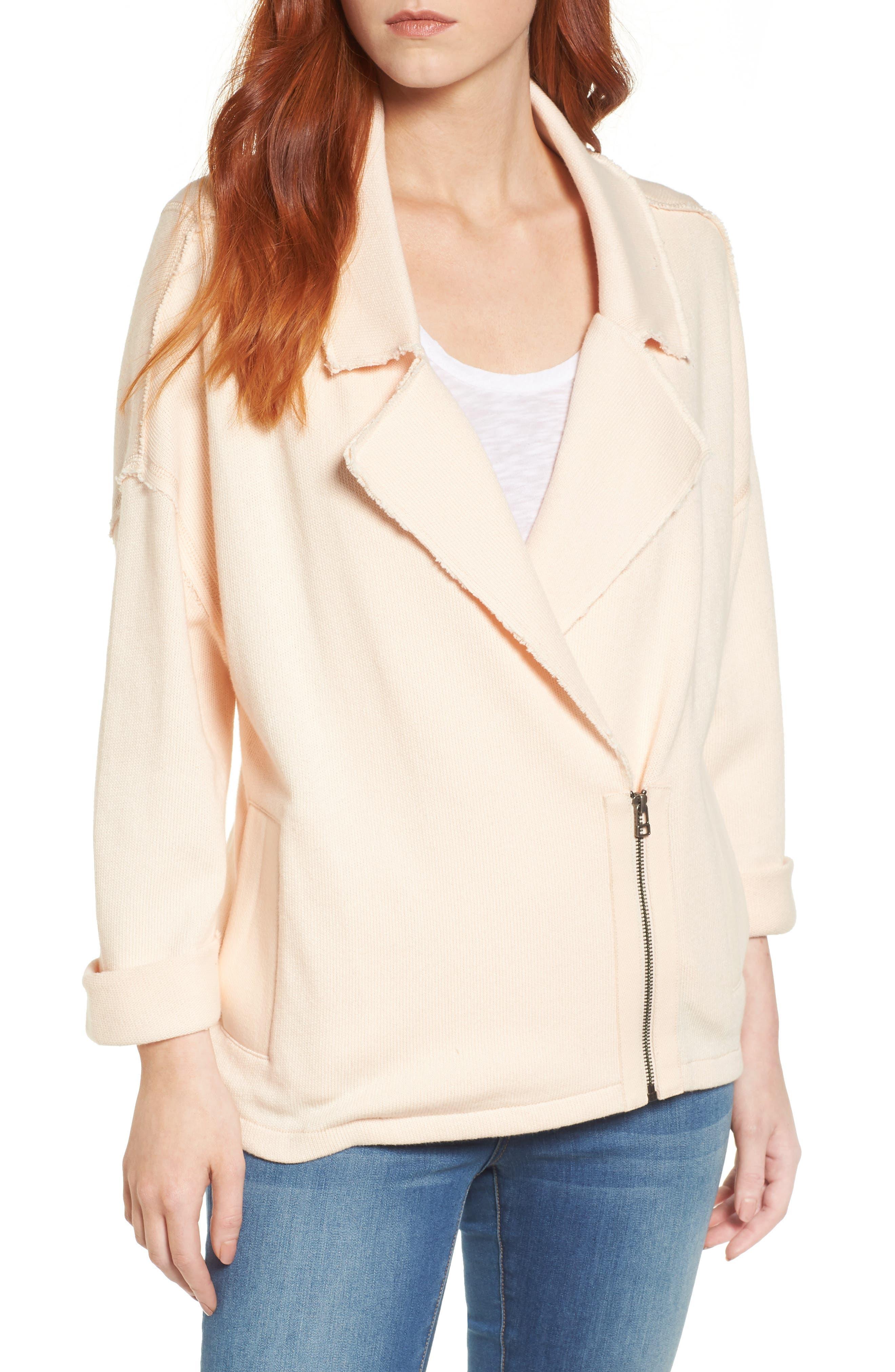 Knit Moto Jacket,                         Main,                         color, Beige Linen