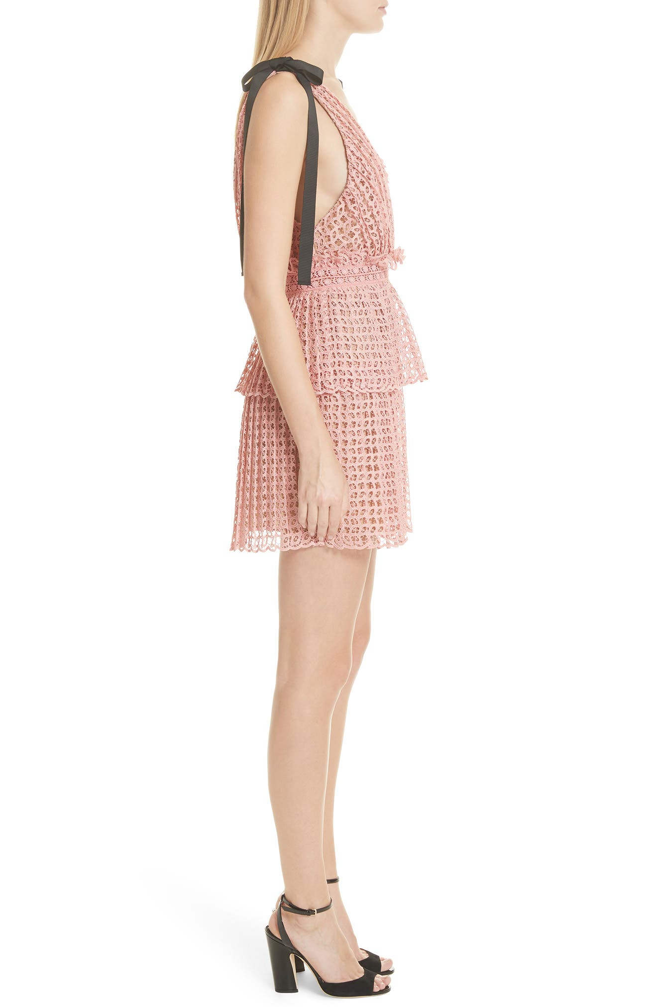 Tie Strap Cutwork Organza Dress,                             Alternate thumbnail 3, color,                             Pink