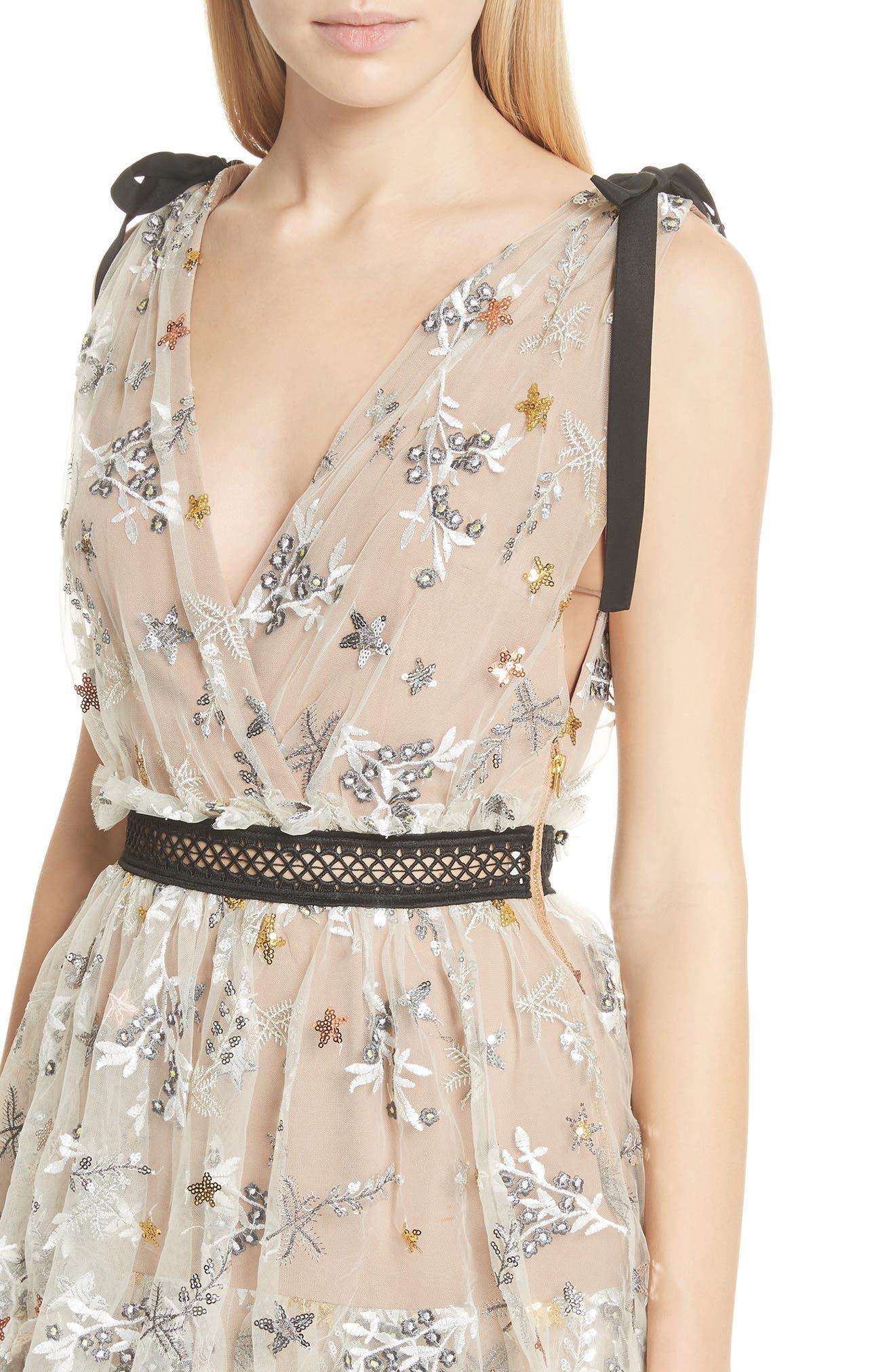 Alternate Image 4  - Self-Portrait Sequin Mesh Tie Strap Midi Dress