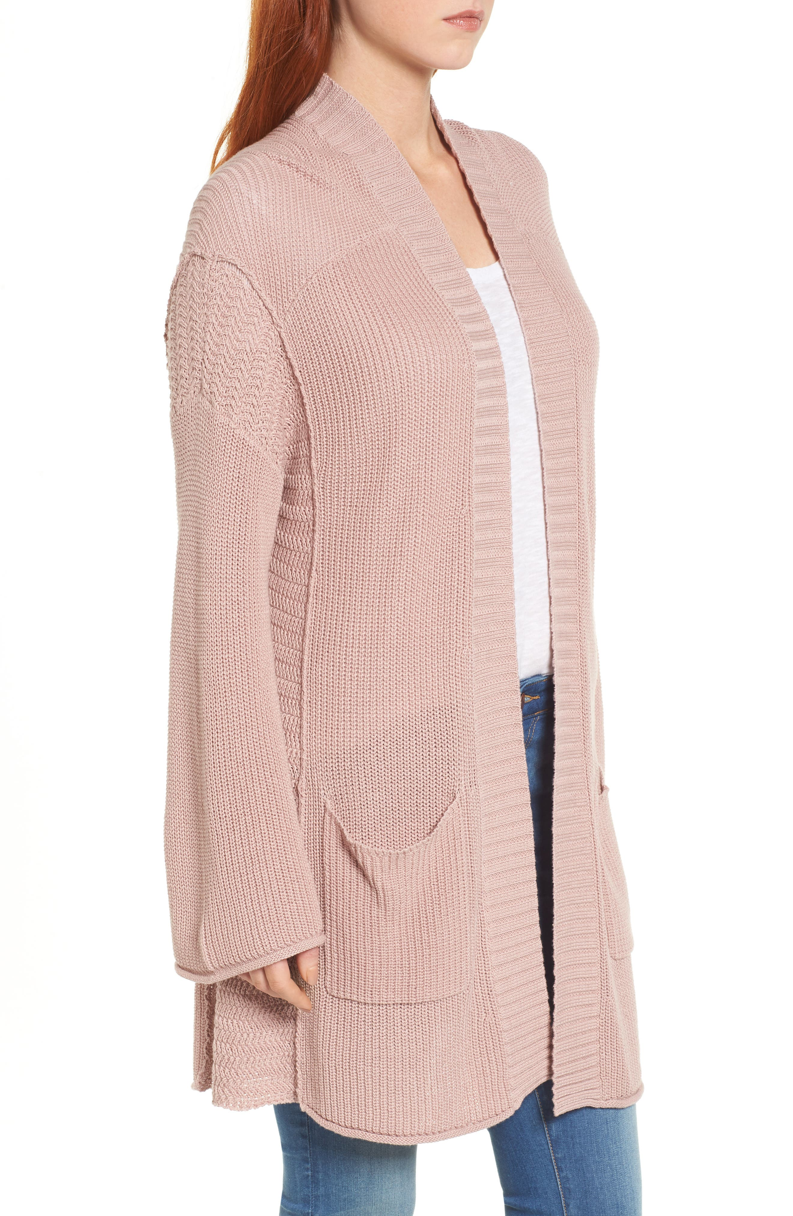 Open Cotton Cardigan,                             Alternate thumbnail 3, color,                             Pink Adobe