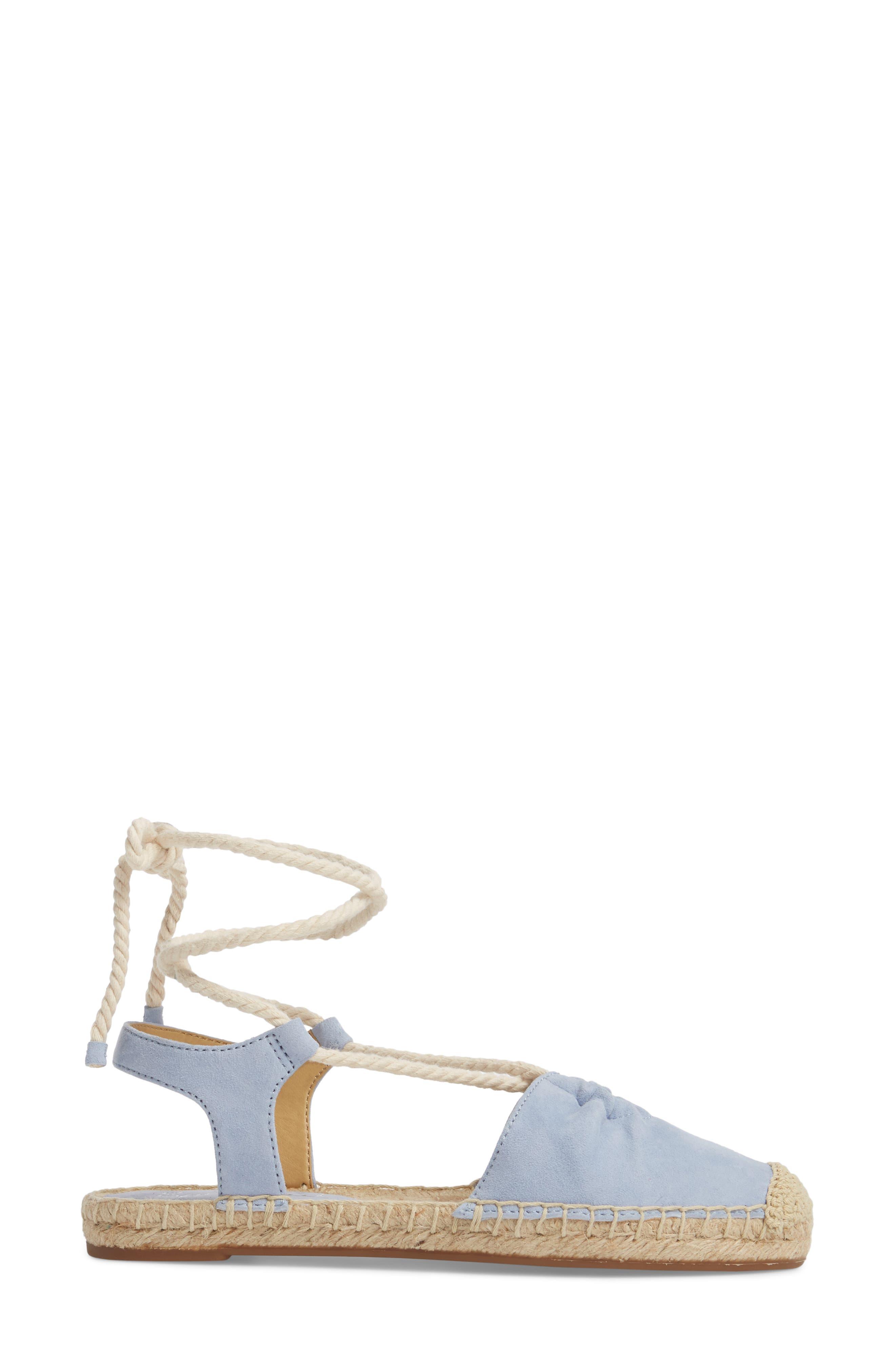 Frey Ankle Tie Espadrille Flat,                             Alternate thumbnail 3, color,                             Lavender Blue Suede