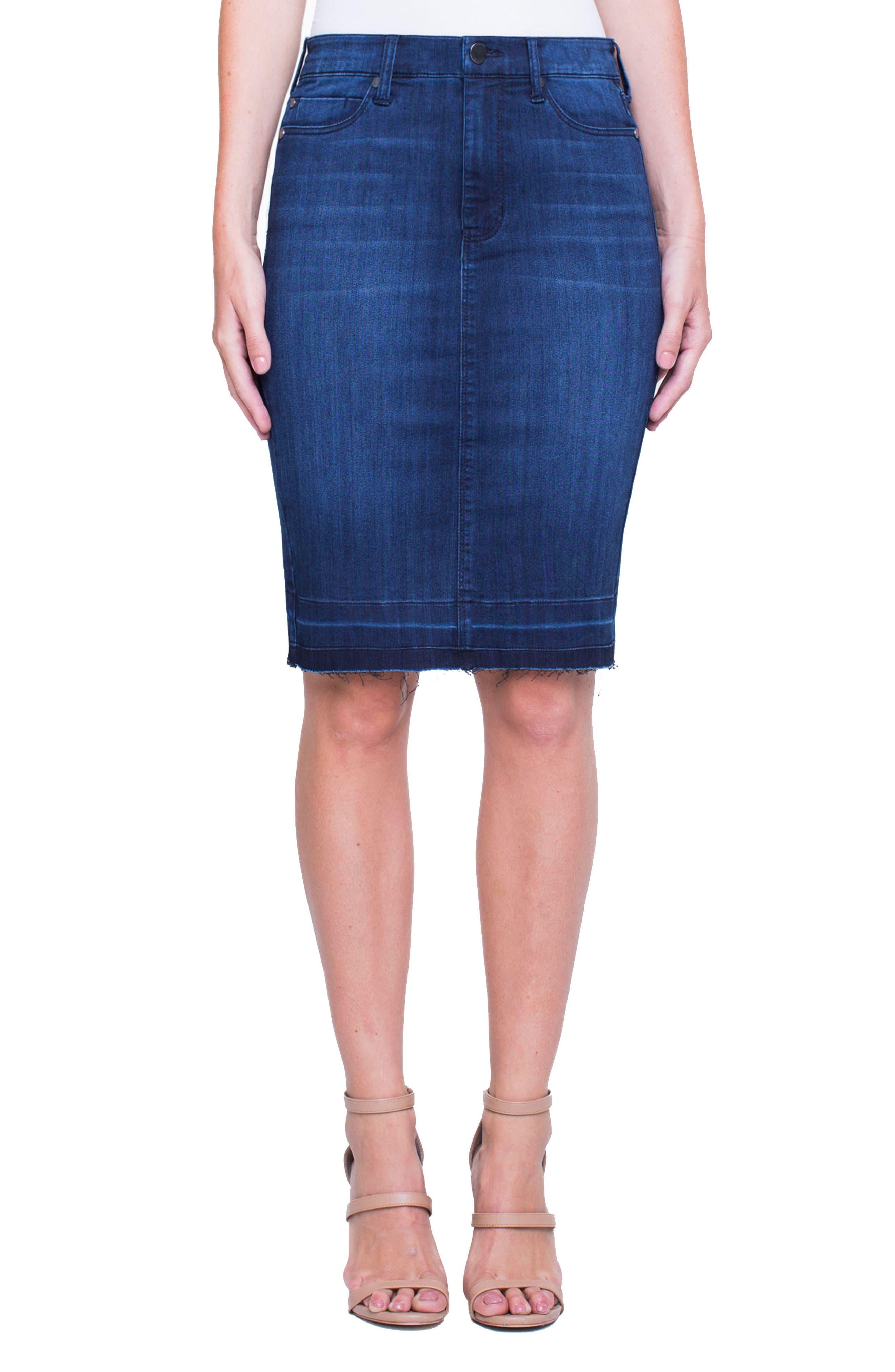 Main Image - Liverpool Jeans Company Denim Pencil Skirt (Estrella Med Dark)