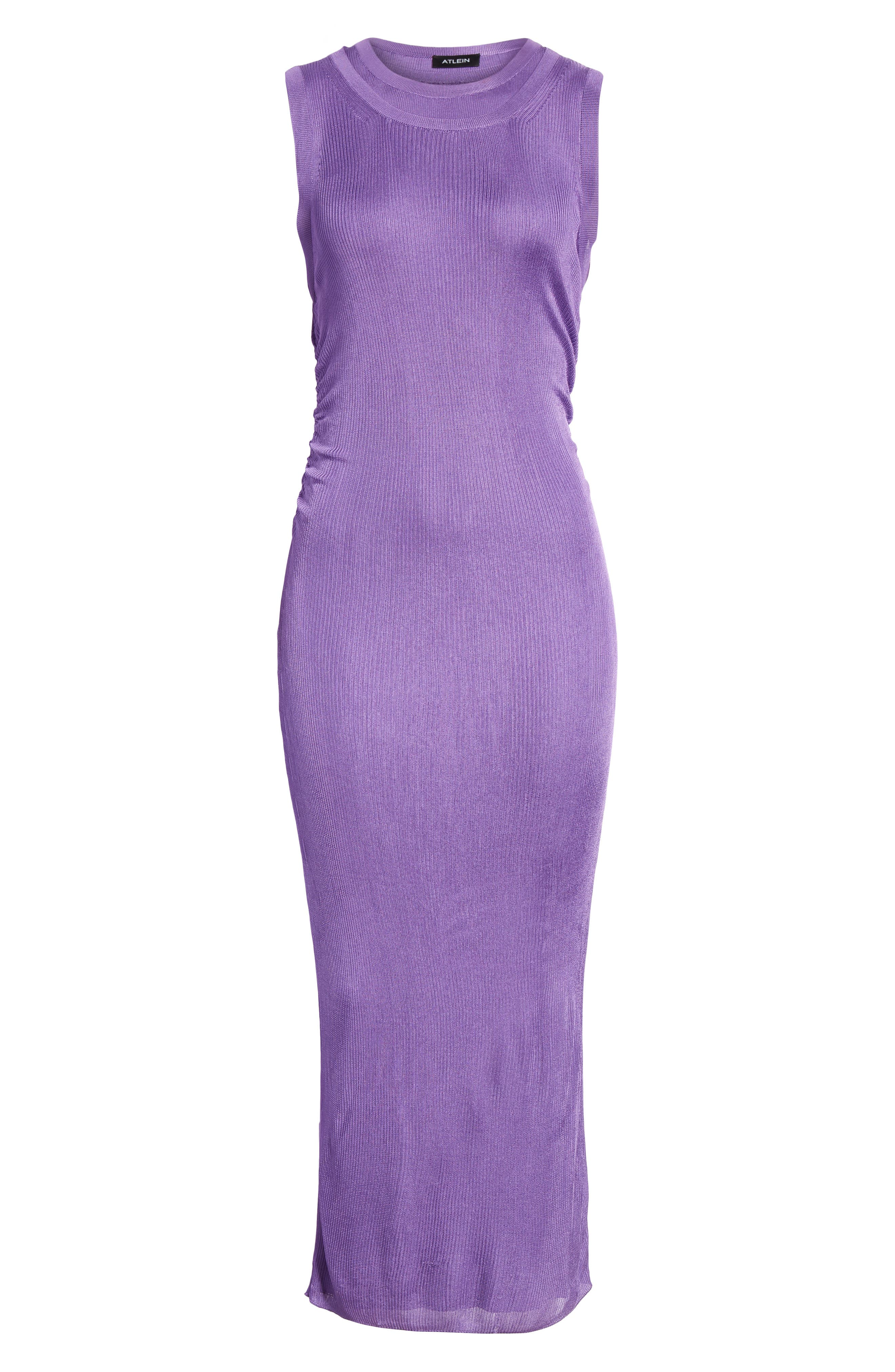 Ruched Side Layered Rib Knit Dress,                             Alternate thumbnail 7, color,                             Lilas