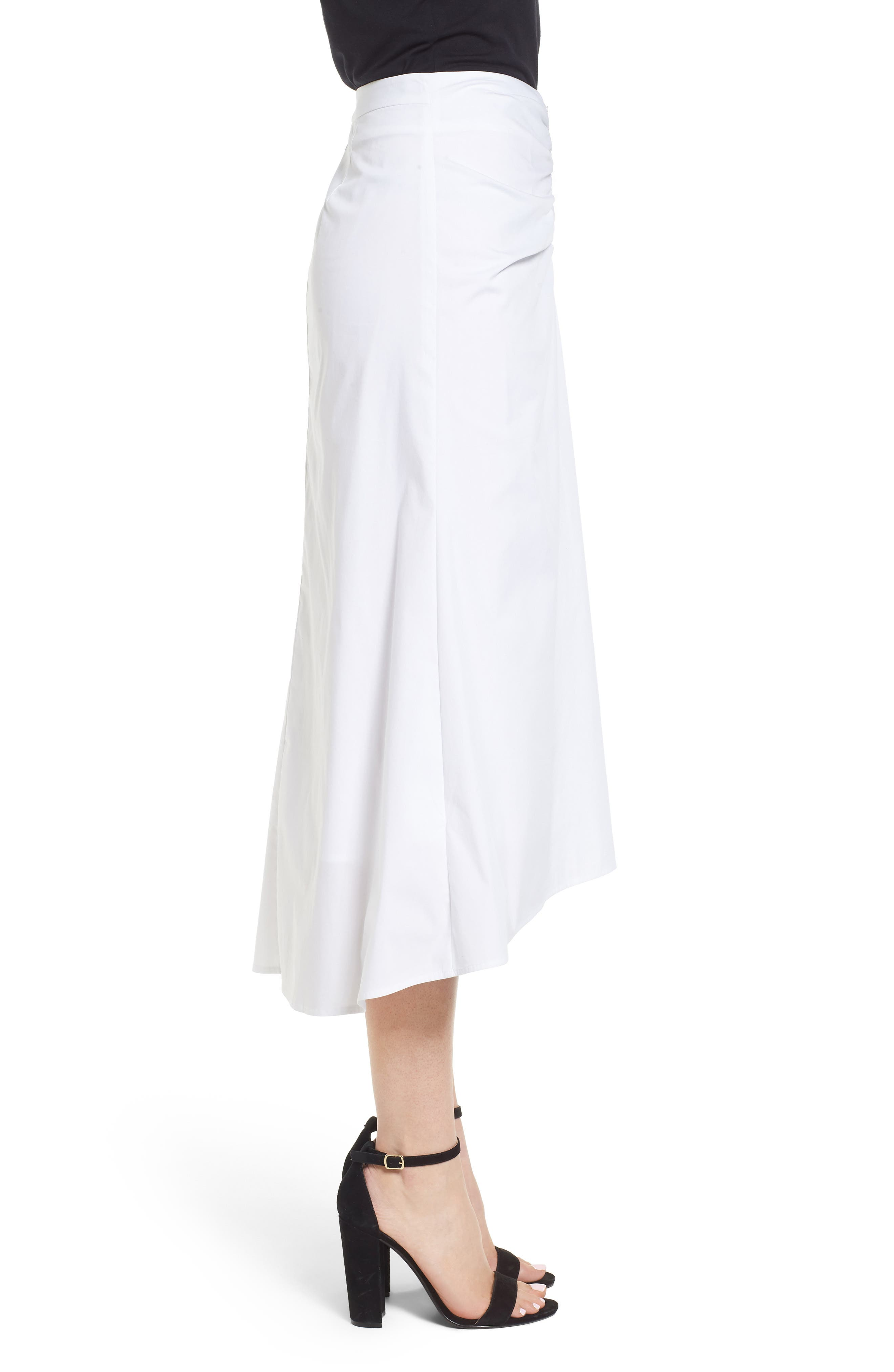 Ruched Front Midi Skirt,                             Alternate thumbnail 3, color,                             White