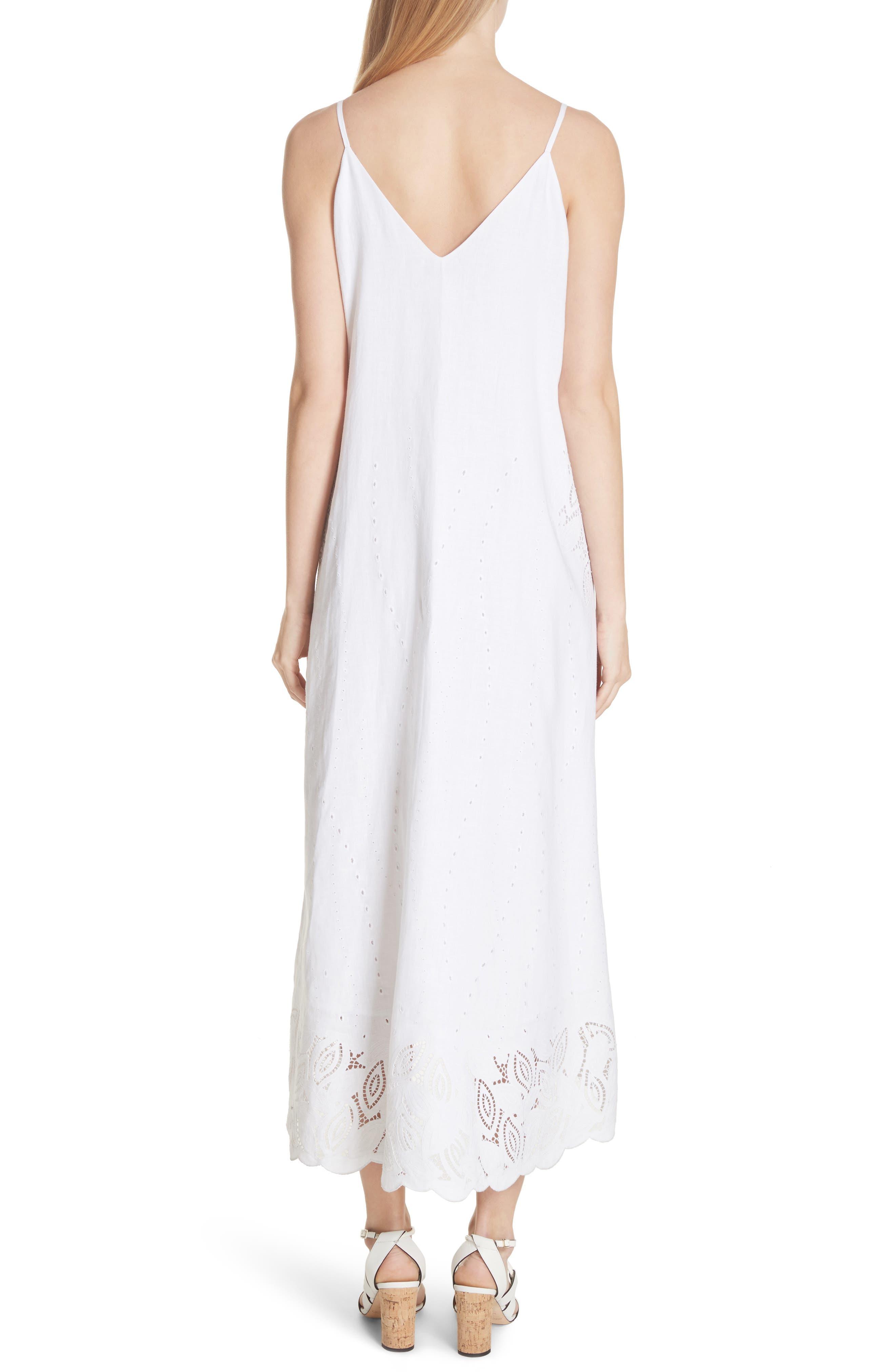 Dominique Linen Cutwork Dress,                             Alternate thumbnail 2, color,                             White