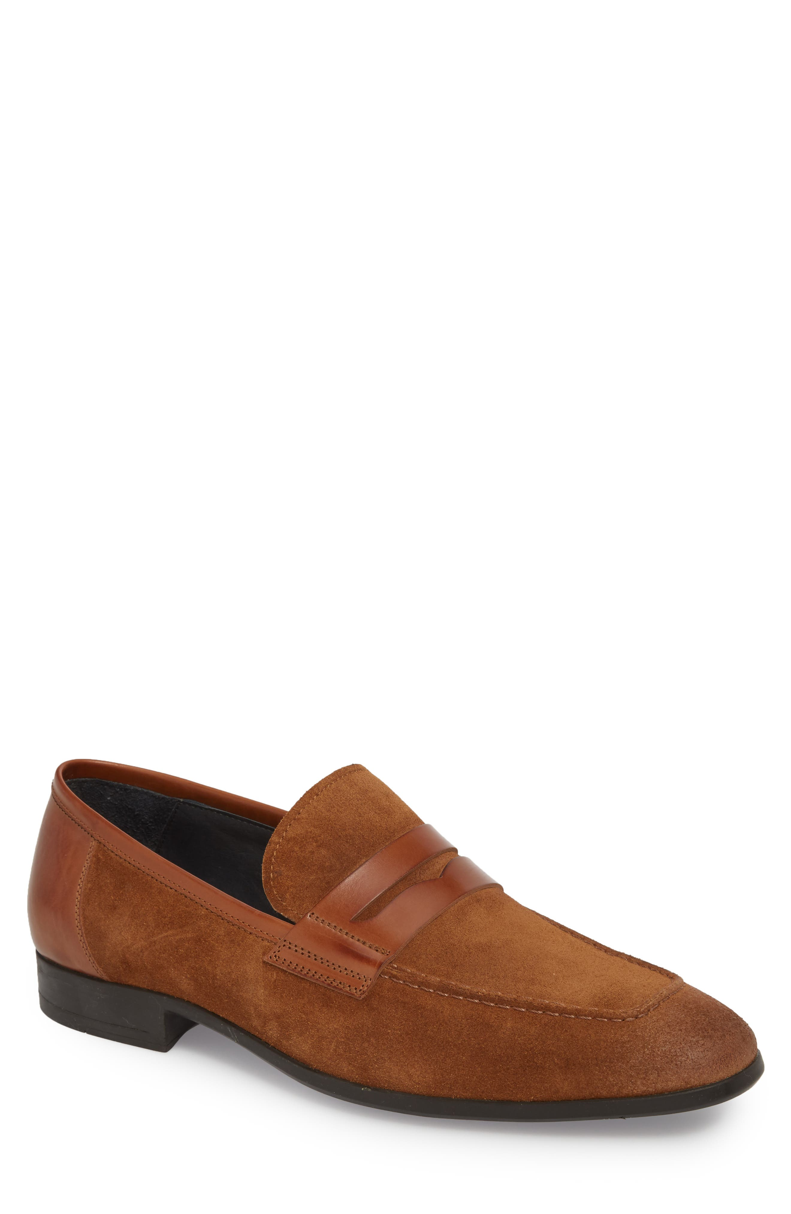 Powell Penny Loafer,                             Main thumbnail 1, color,                             Cognac/ Tan Suede