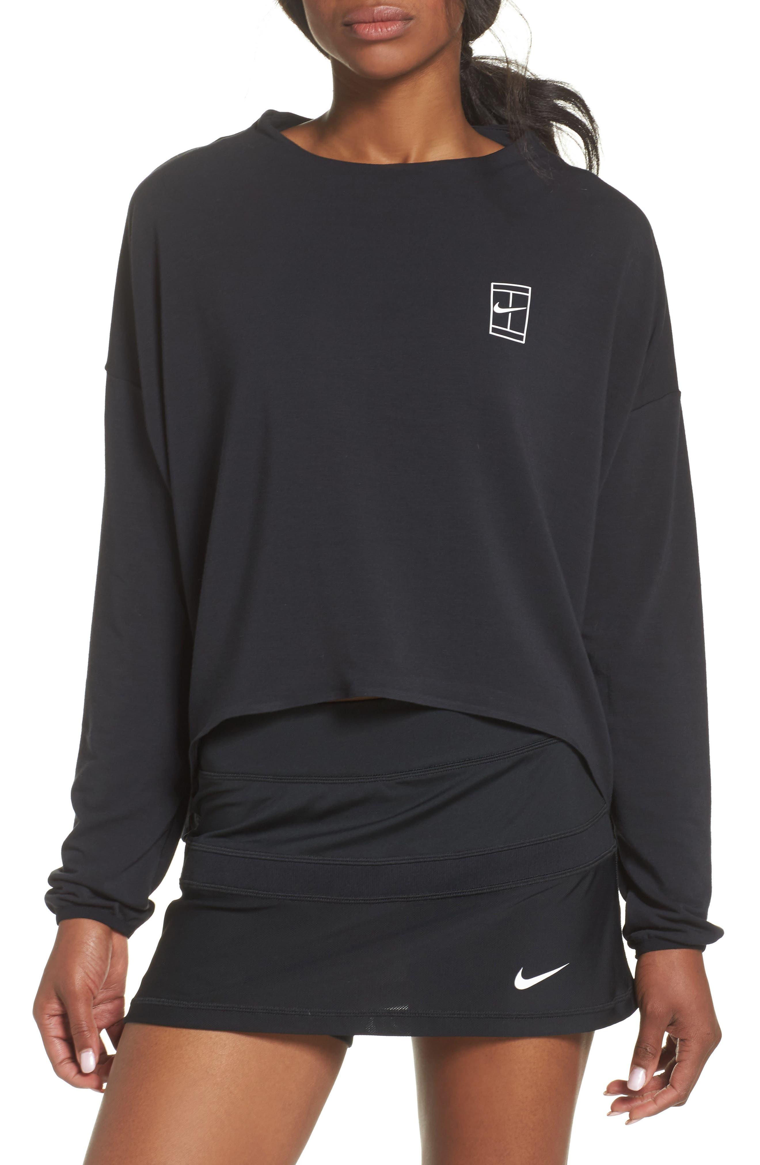 Court Dri-FIT Long Sleeve Tennis Top,                         Main,                         color, Black/ White