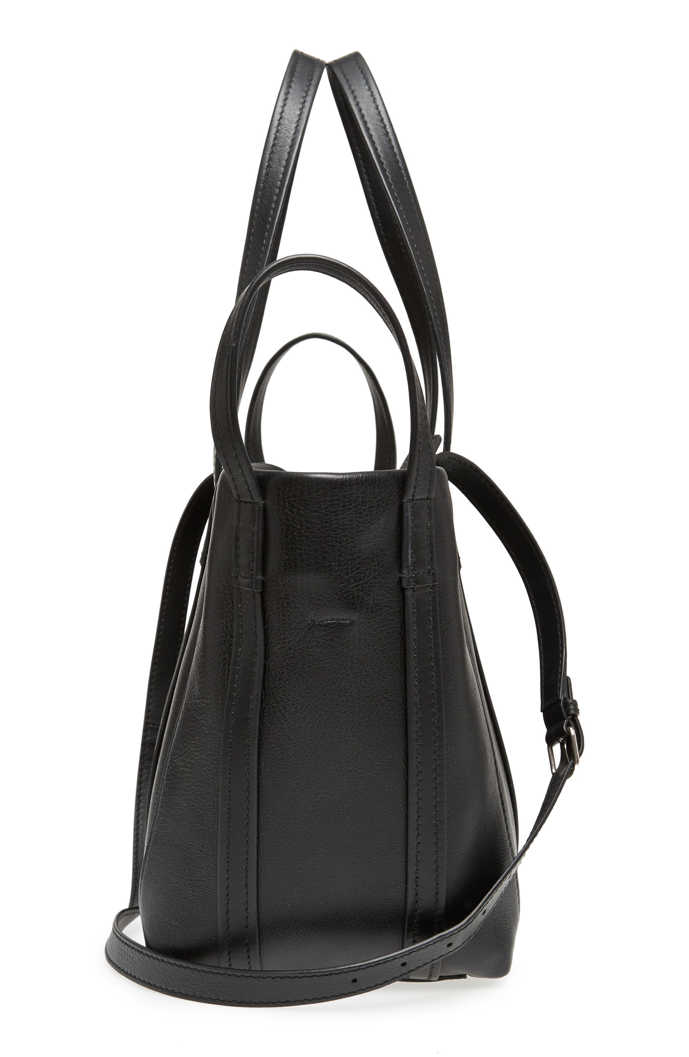 Small Laundry Calfskin Tote,                             Alternate thumbnail 5, color,                             Noir