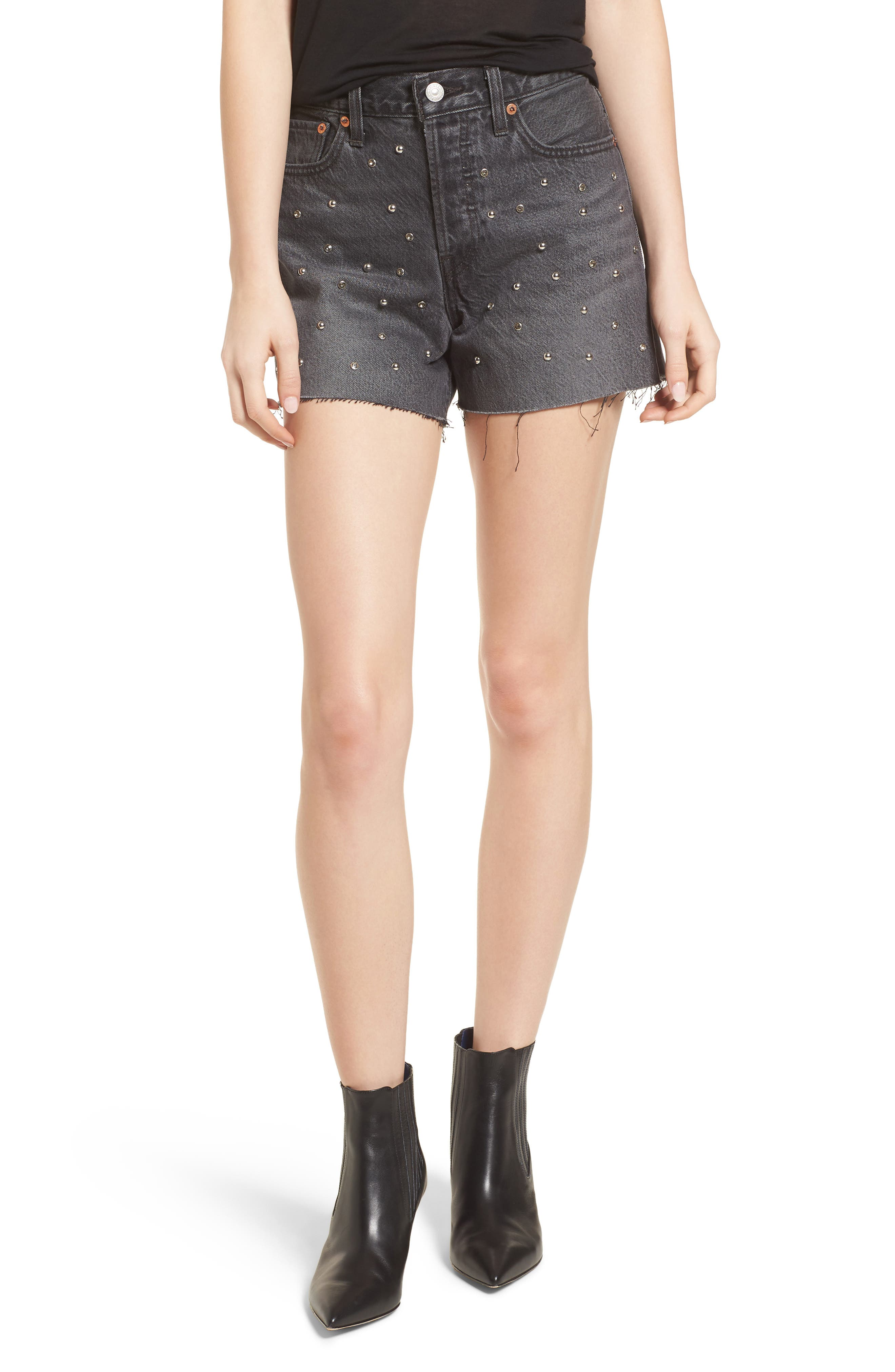 Wedgie High Waist Cutoff Denim Shorts,                         Main,                         color, Bling Bling