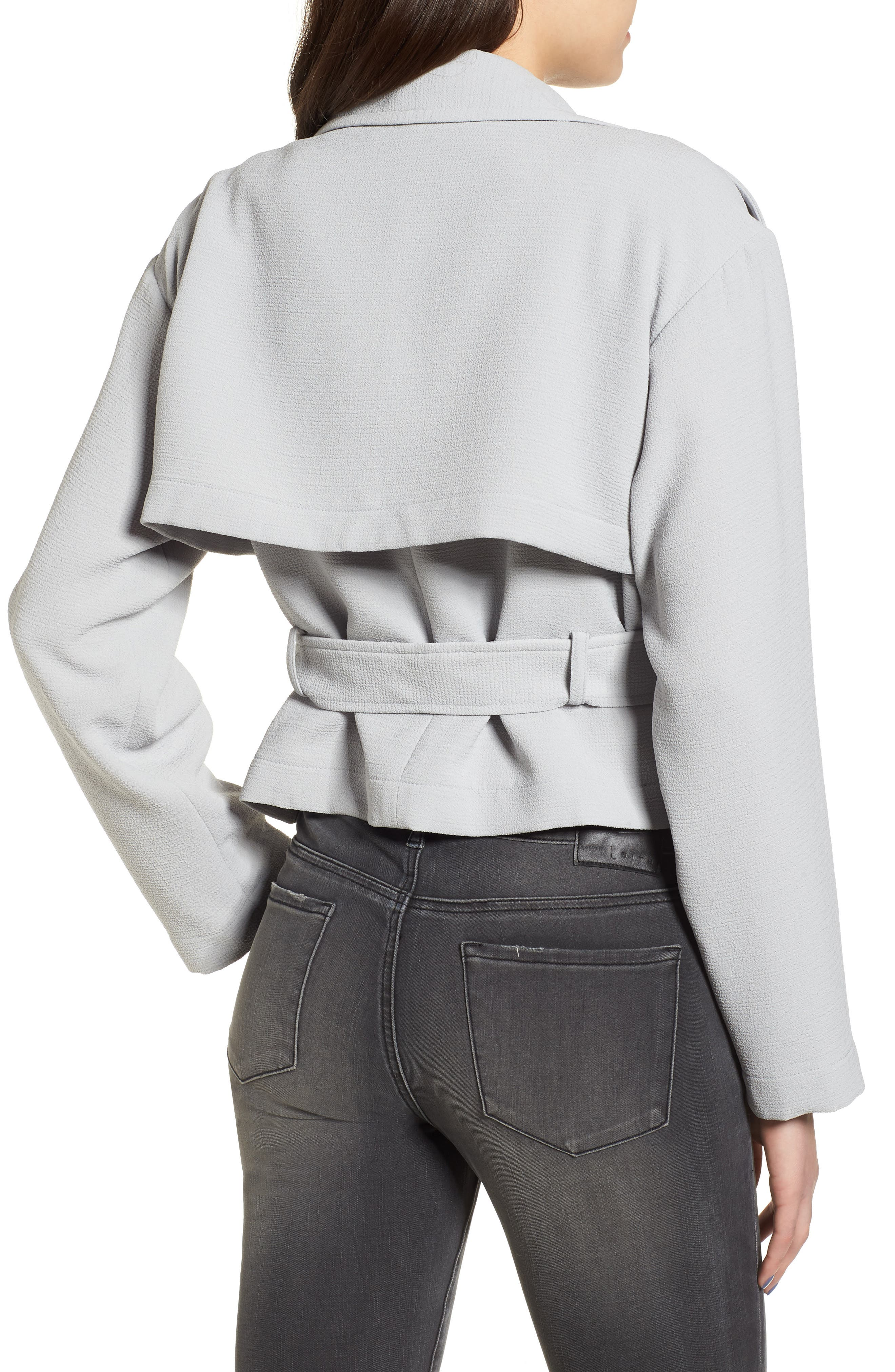 Crop Trench Jacket,                             Alternate thumbnail 3, color,                             Blue Pearl