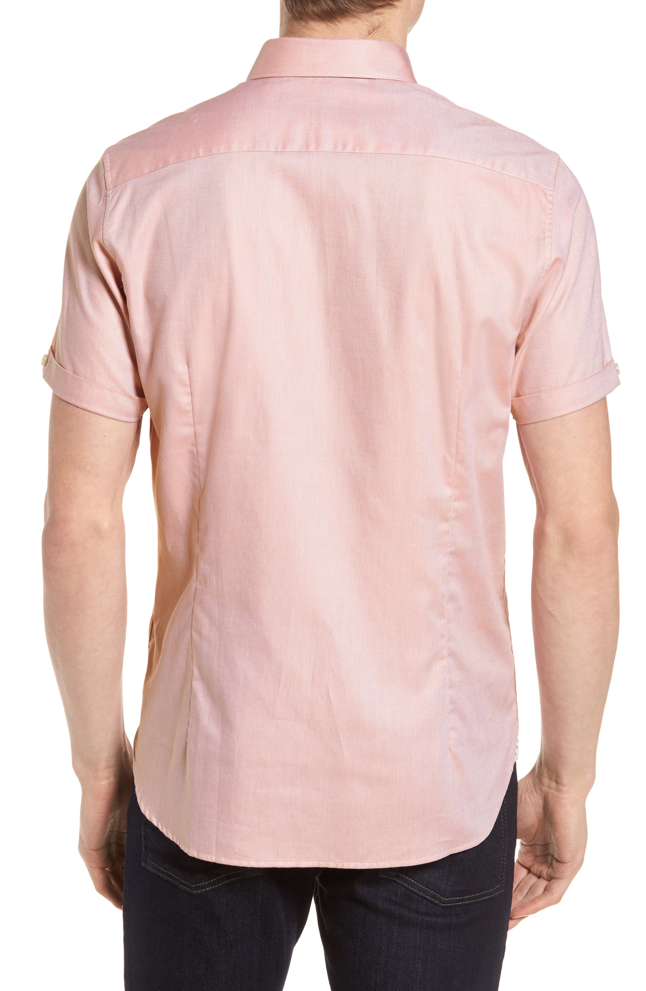 Wallo Trim Fit Short Sleeve Sport Shirt,                             Alternate thumbnail 3, color,                             Pink