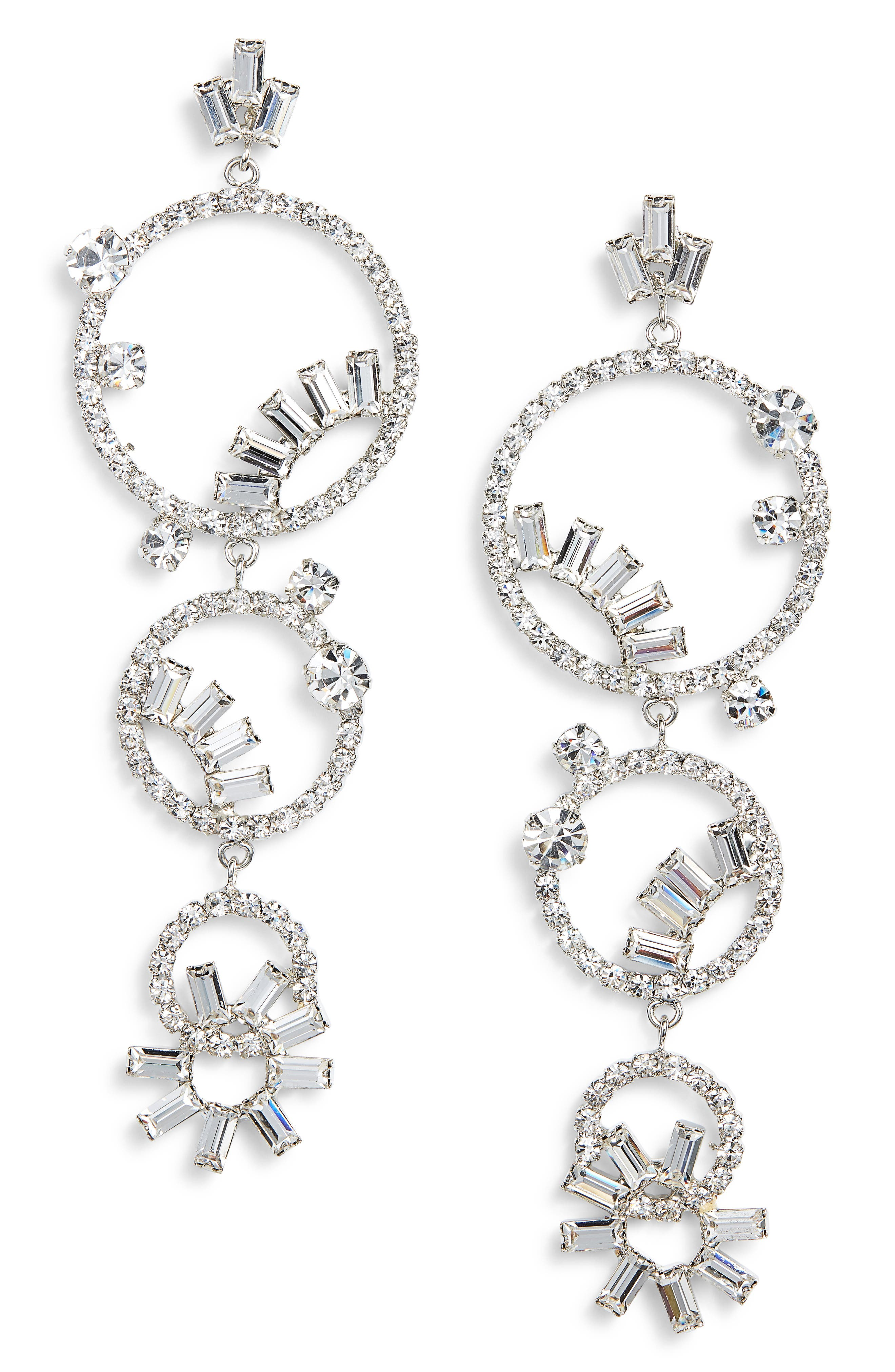 CRISTABELLE Open Hoop Pinwheel Drop Earrings