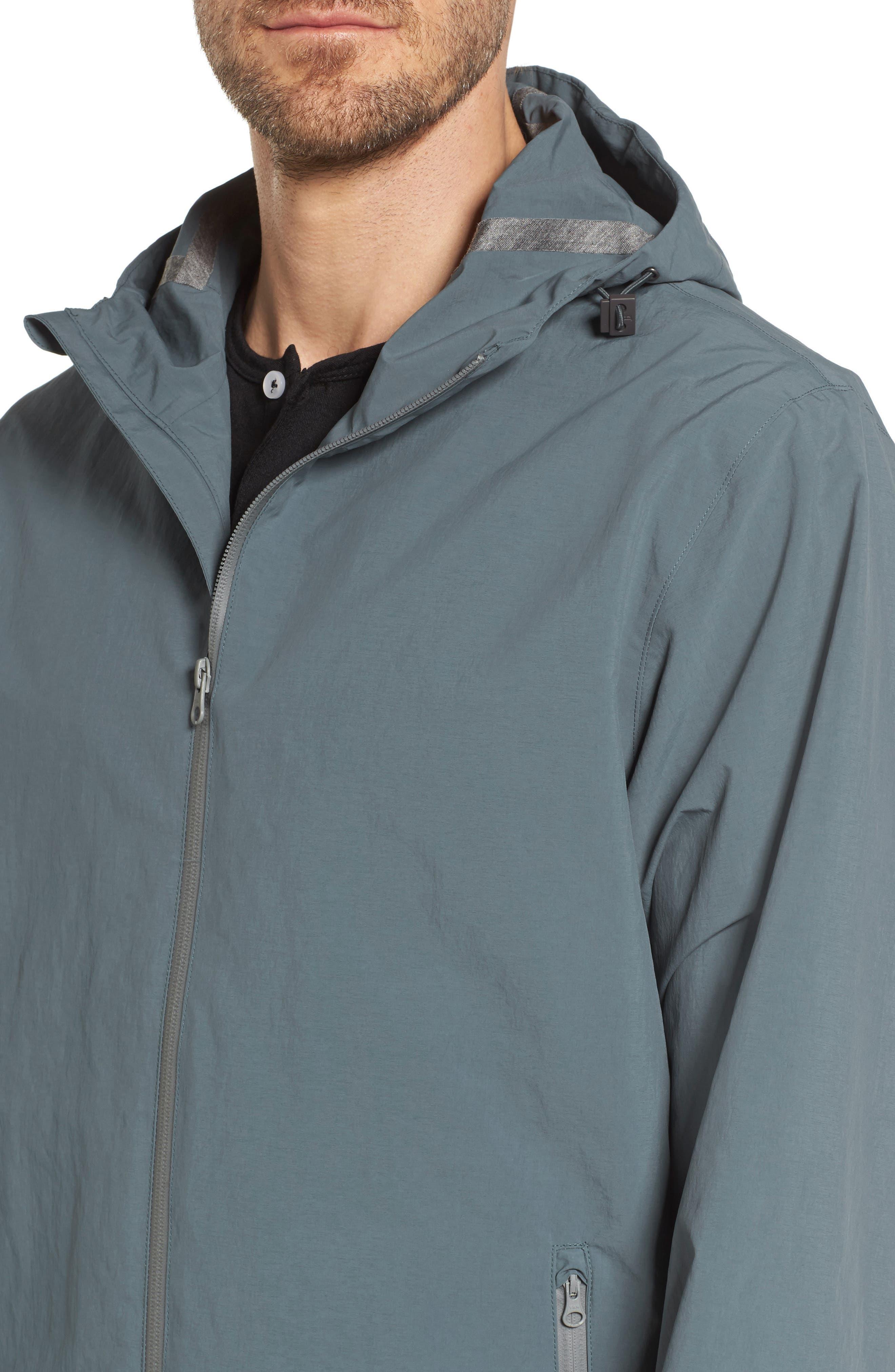 Plaster Hooded Raincoat,                             Alternate thumbnail 4, color,                             Blue/ Grey