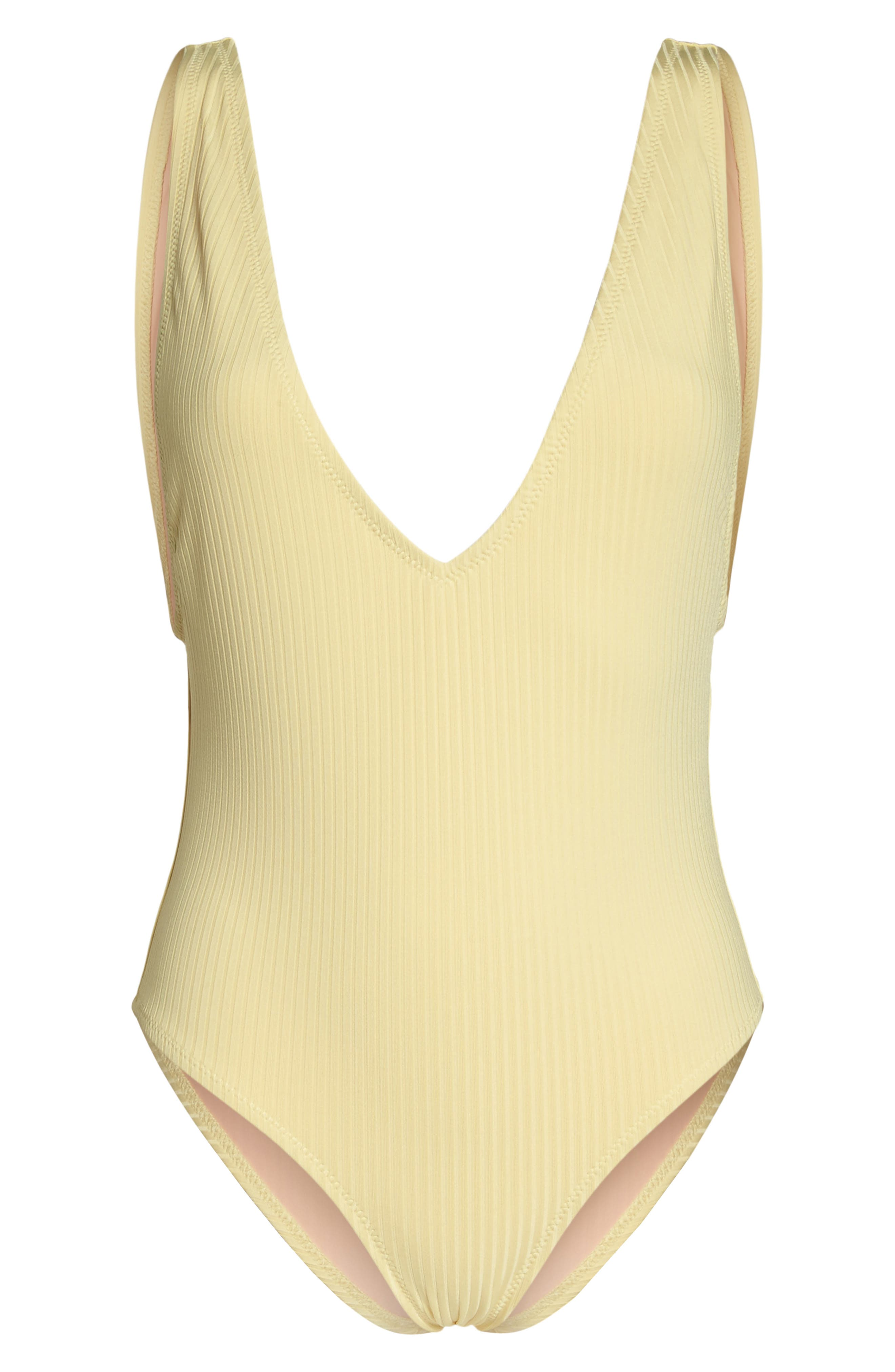 Vermont One-Piece Swimsuit,                             Alternate thumbnail 6, color,                             Soft Yellow