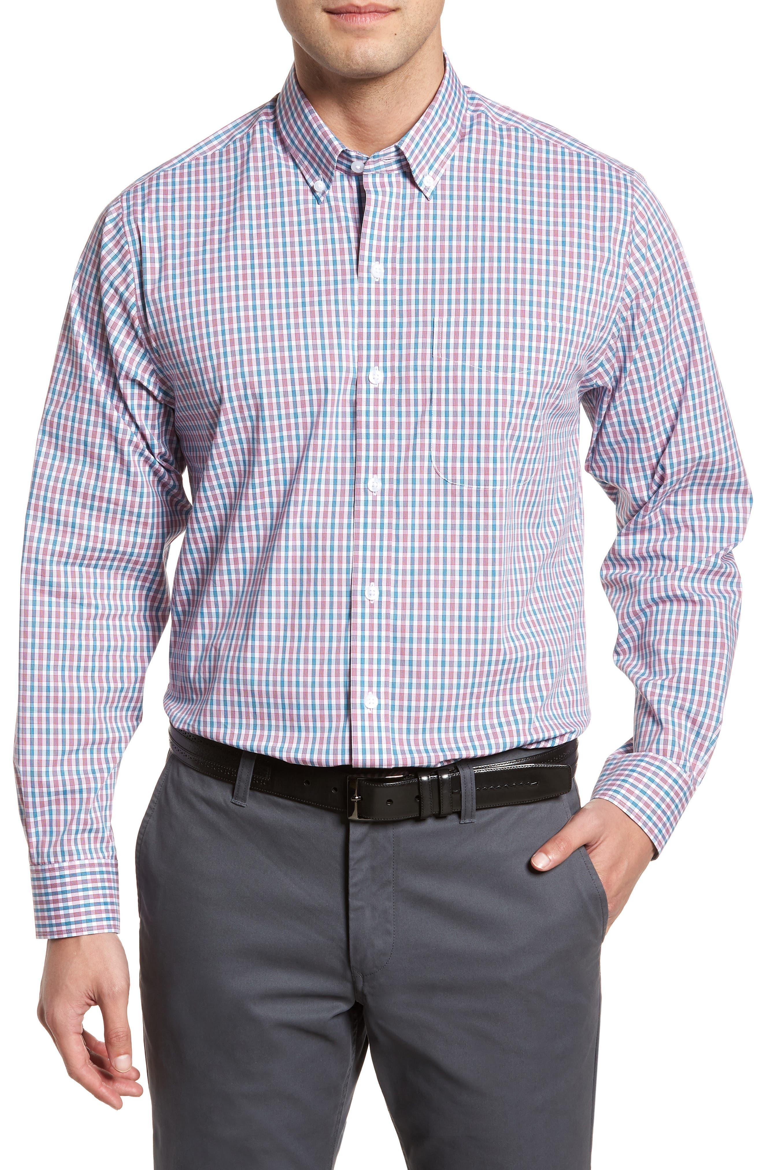 Carson Plaid Performance Sport Shirt,                             Main thumbnail 1, color,                             Virtual