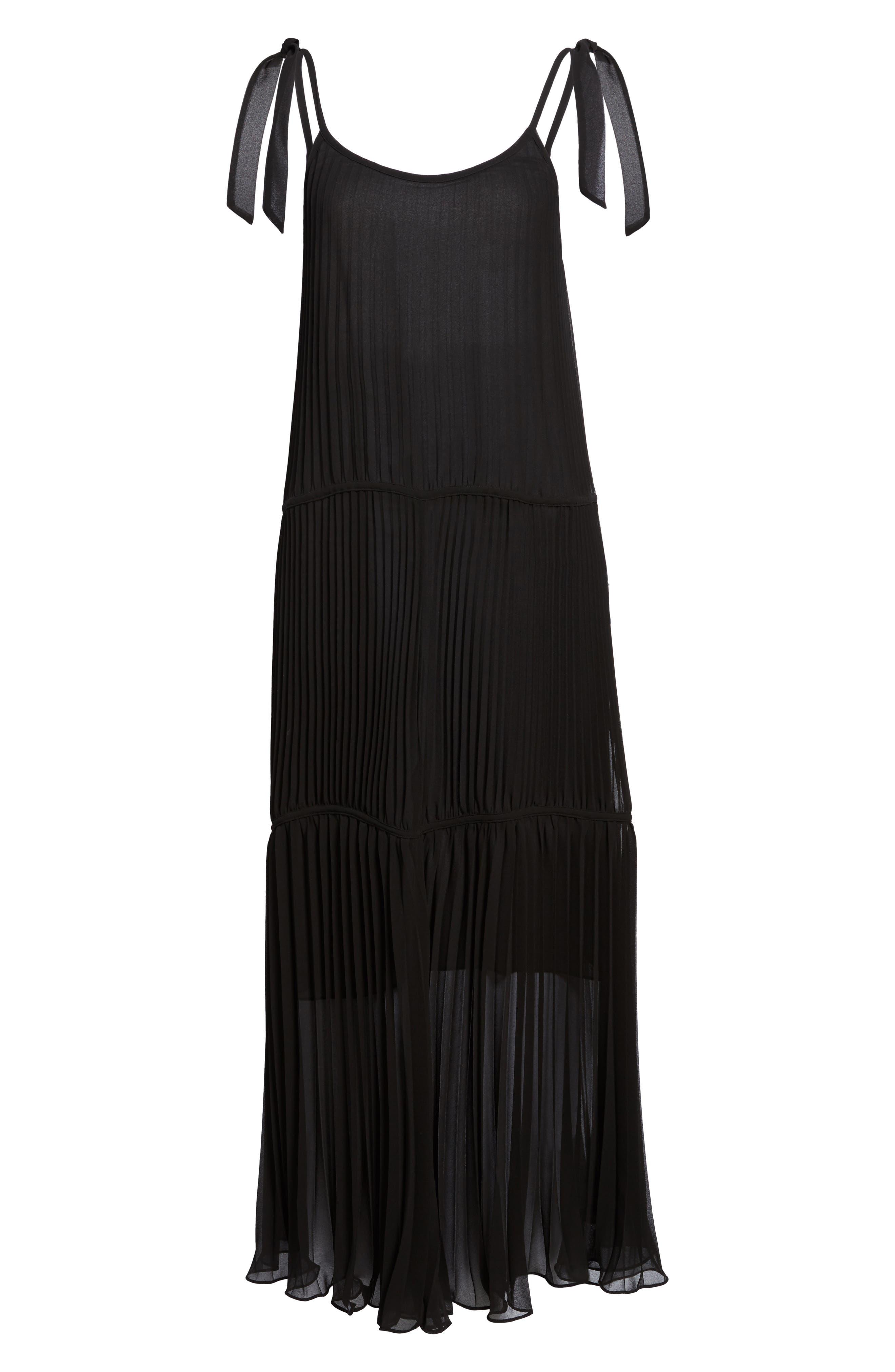 Chiffon Maxi Dress,                             Alternate thumbnail 6, color,                             Black