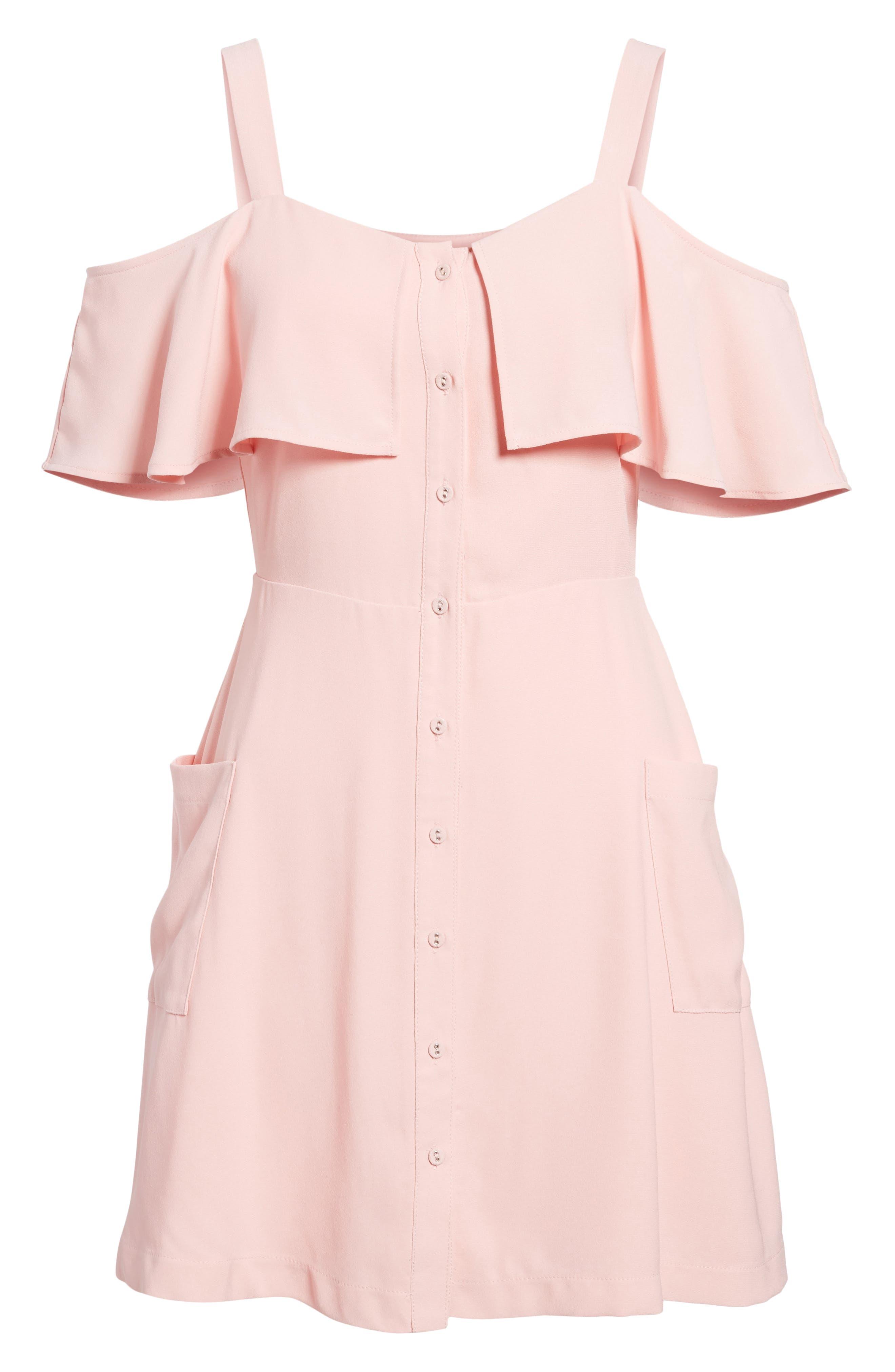 Cold Shoulder Dress,                             Alternate thumbnail 6, color,                             Peach