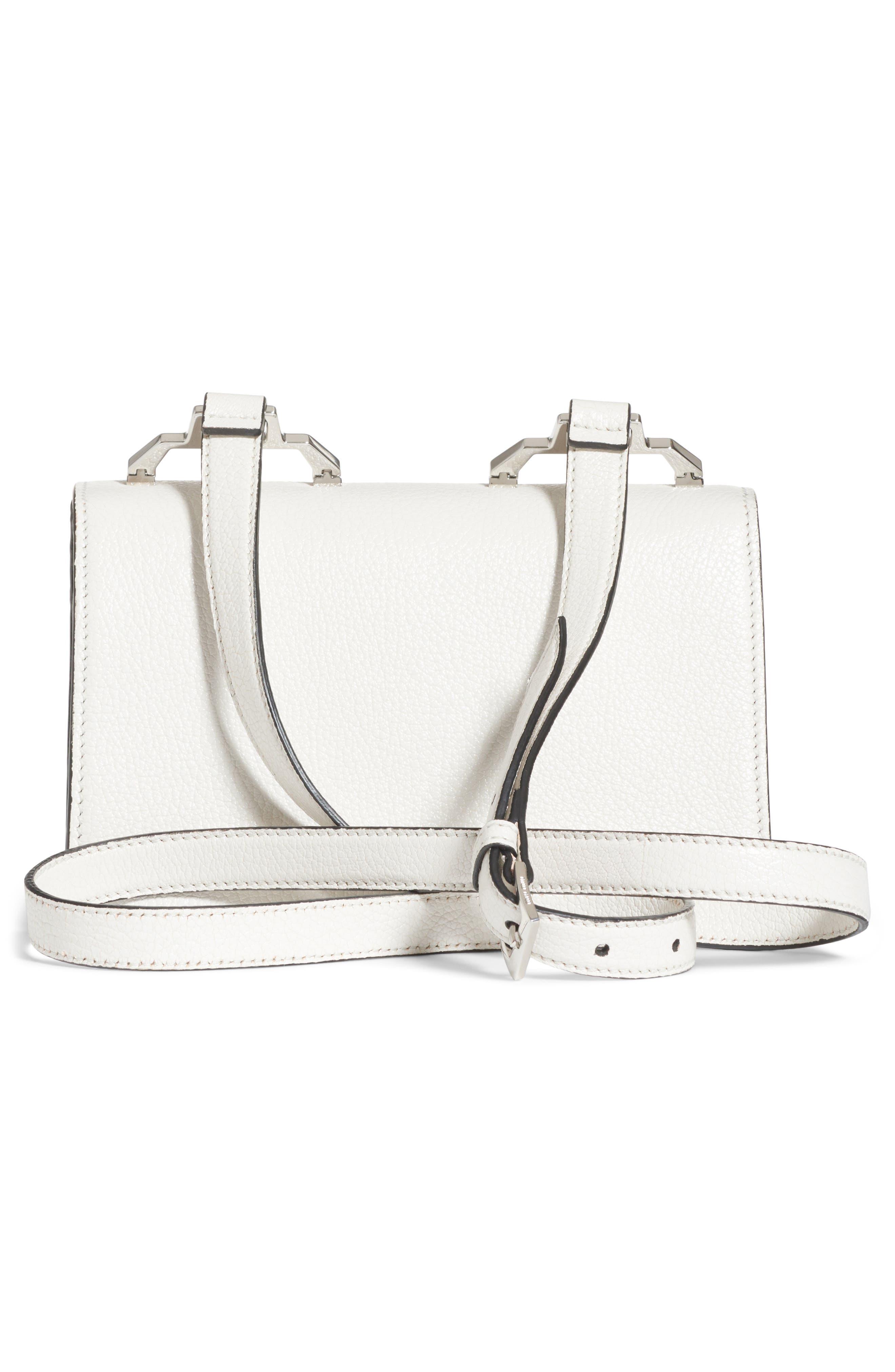 Leather Crossbody Bag,                             Alternate thumbnail 2, color,                             Bianco/ Baltico