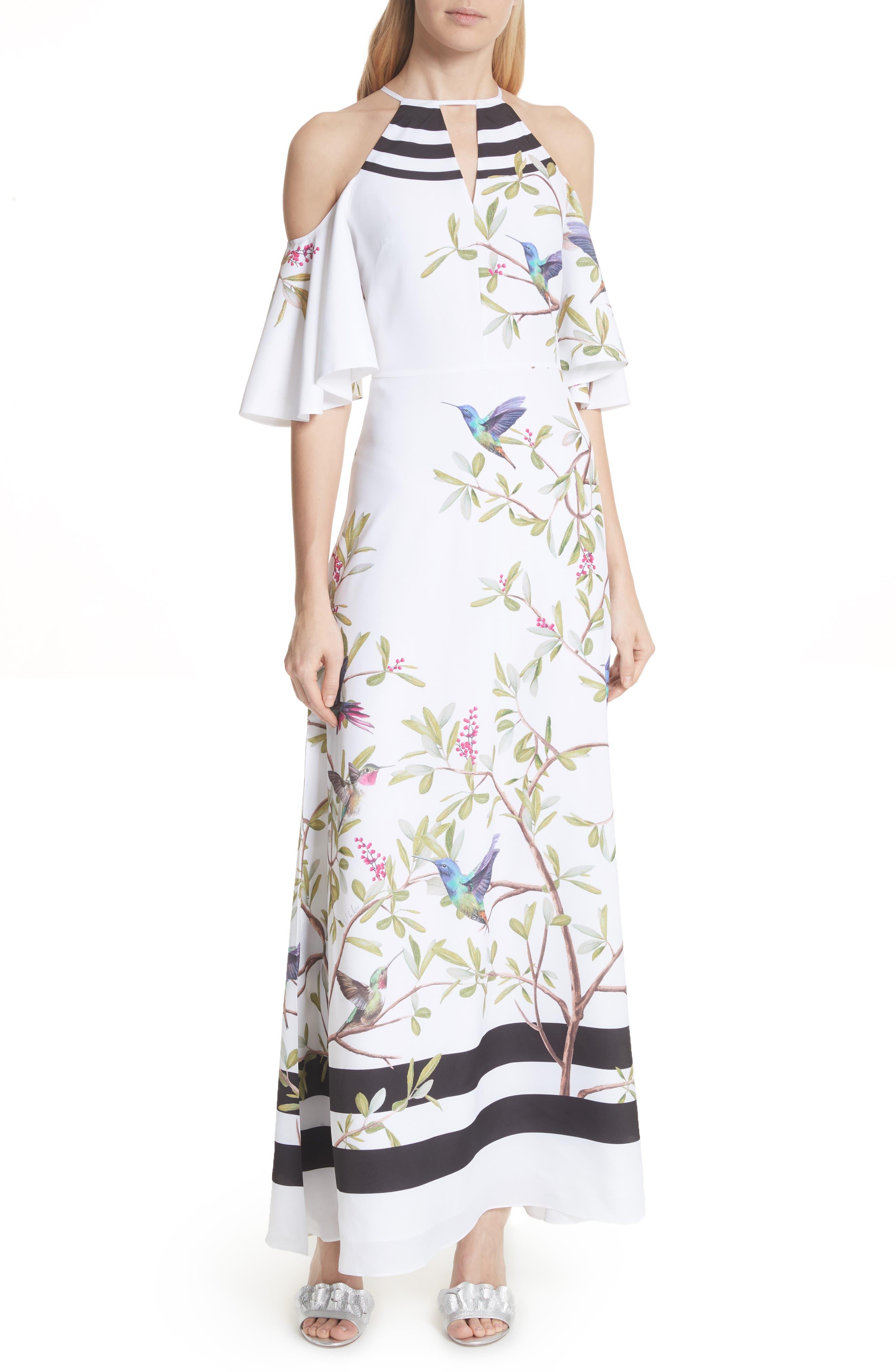 Highgrove Cold Shoulder Maxi Dress,                         Main,                         color, White