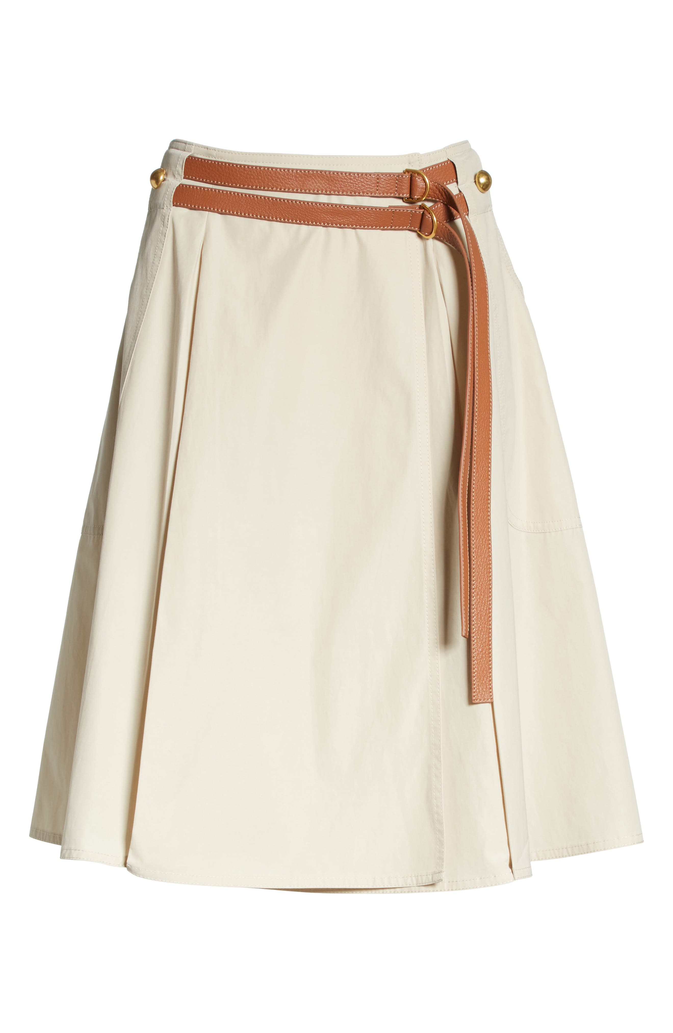 Betsy Belted Flare Skirt,                             Alternate thumbnail 6, color,                             Pale Stone