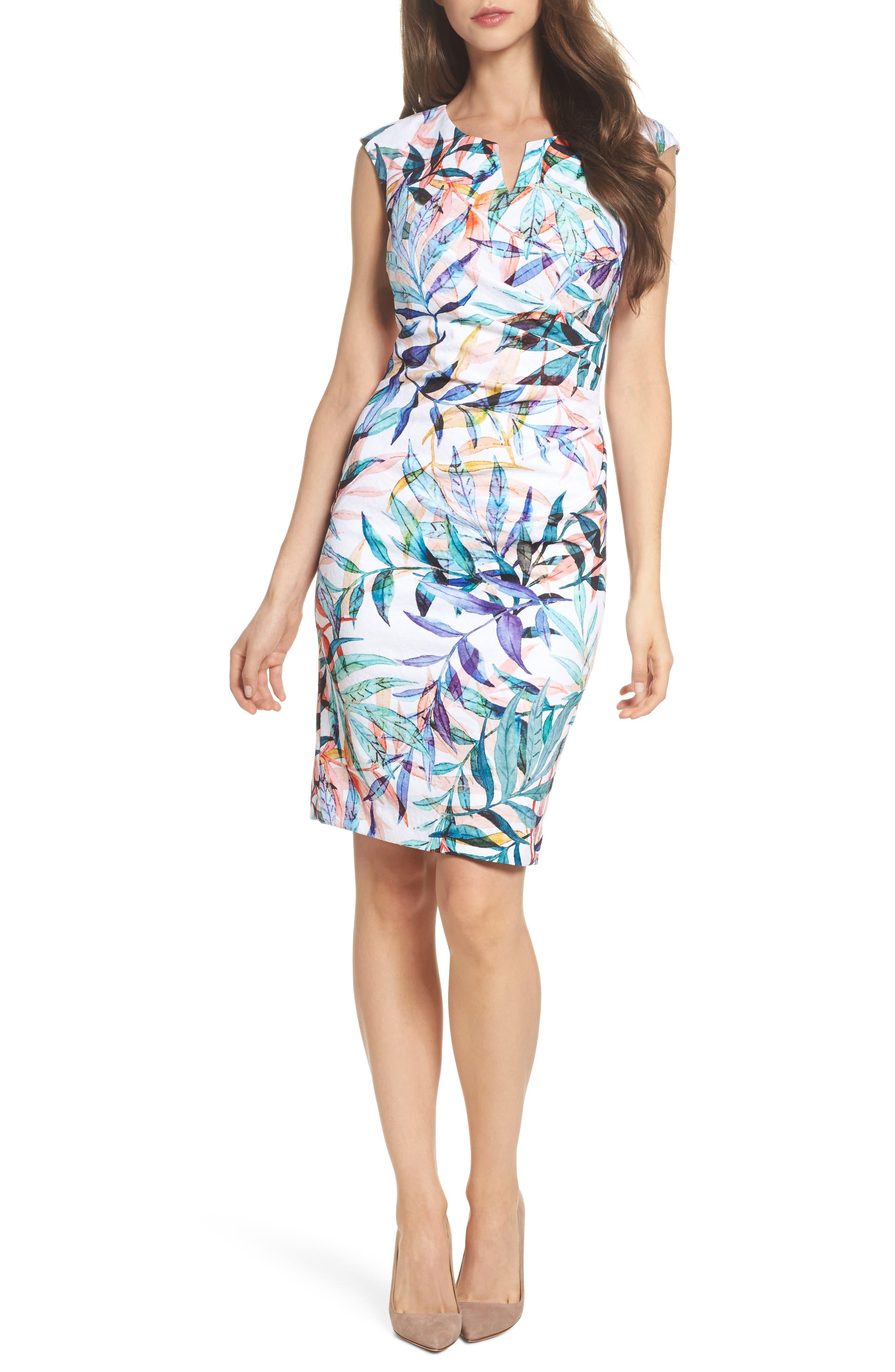 Watercolor Leaves Sheath Dress,                         Main,                         color, Ivory Multi
