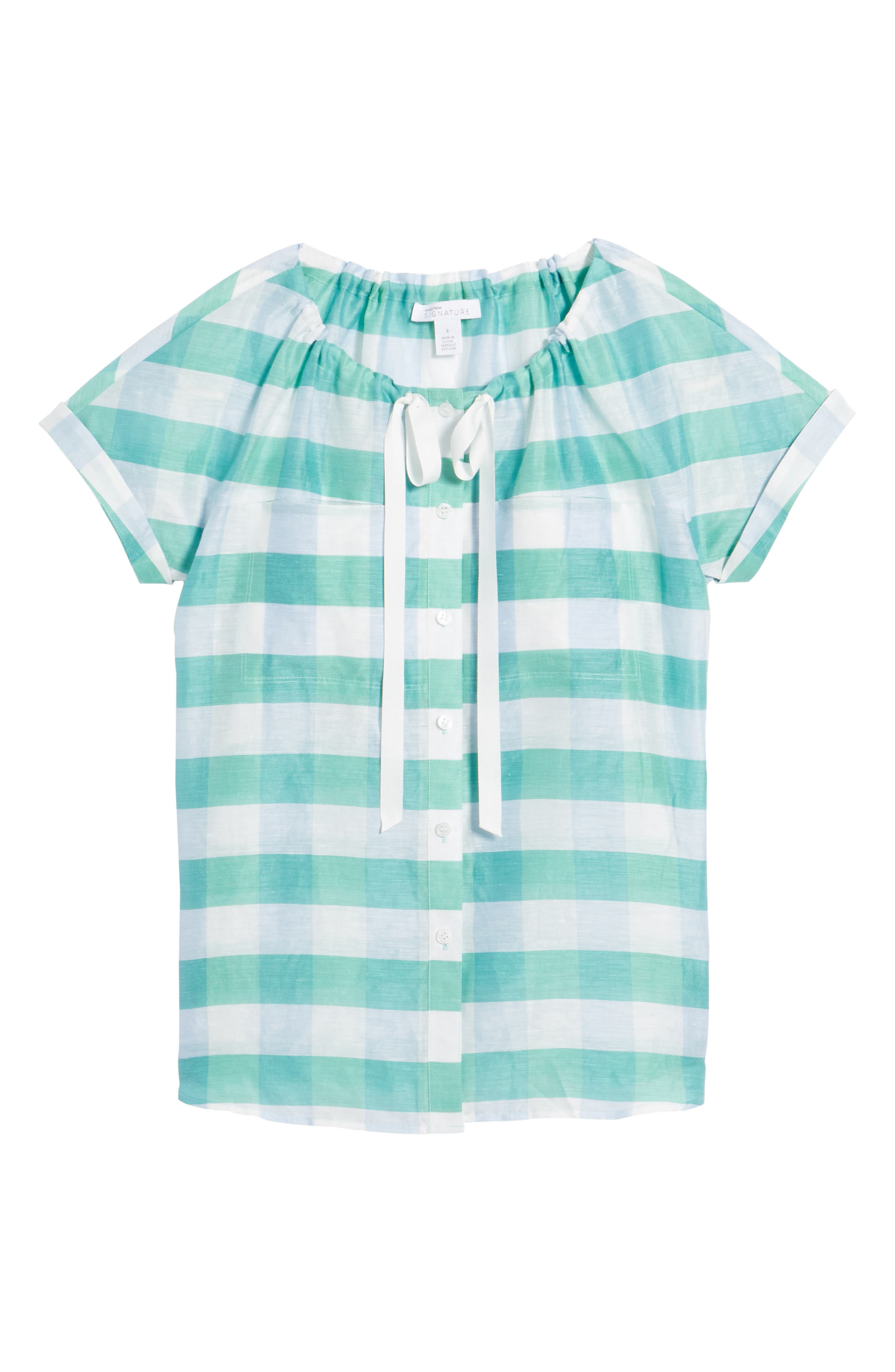 Tie Neck Check Top,                             Alternate thumbnail 6, color,                             Green- Blue Feather Check