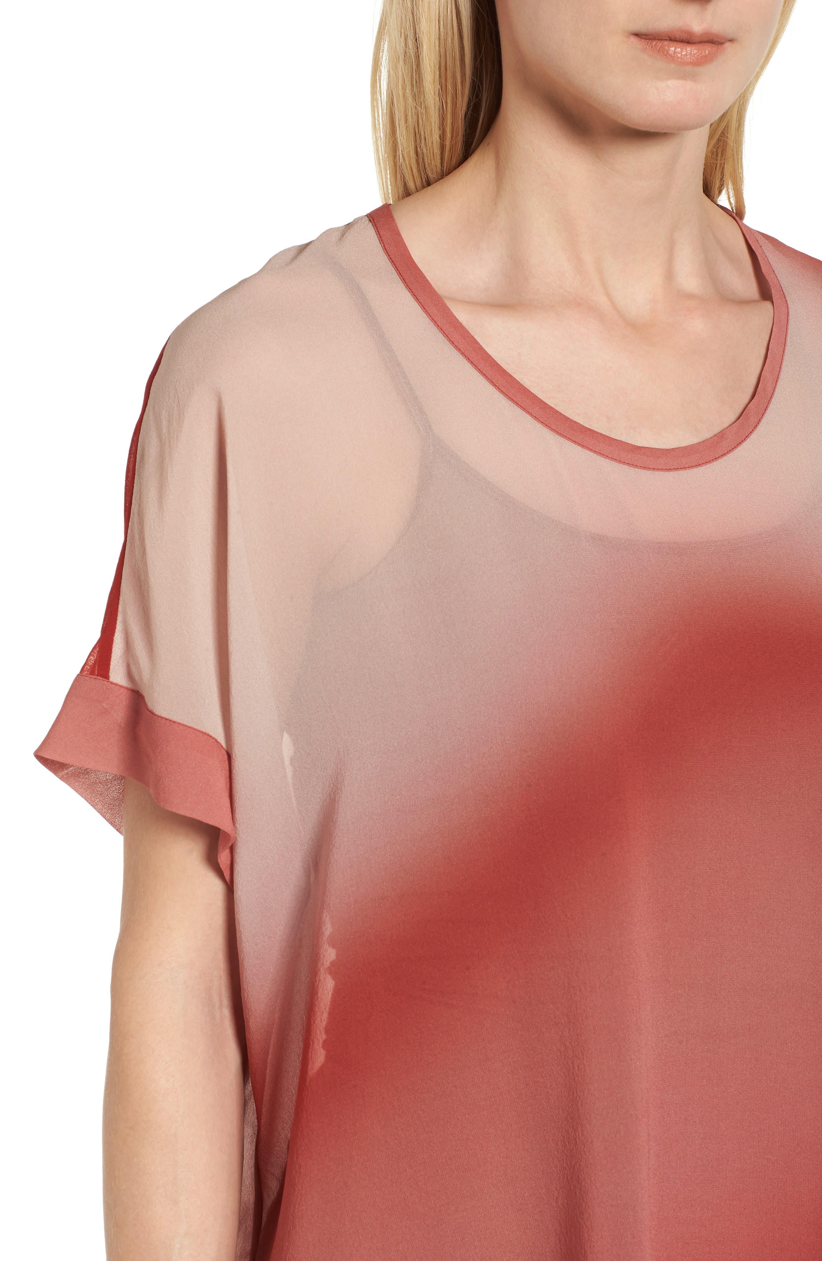 Ombré Silk Short Sleeve Top,                             Alternate thumbnail 4, color,                             Serrano
