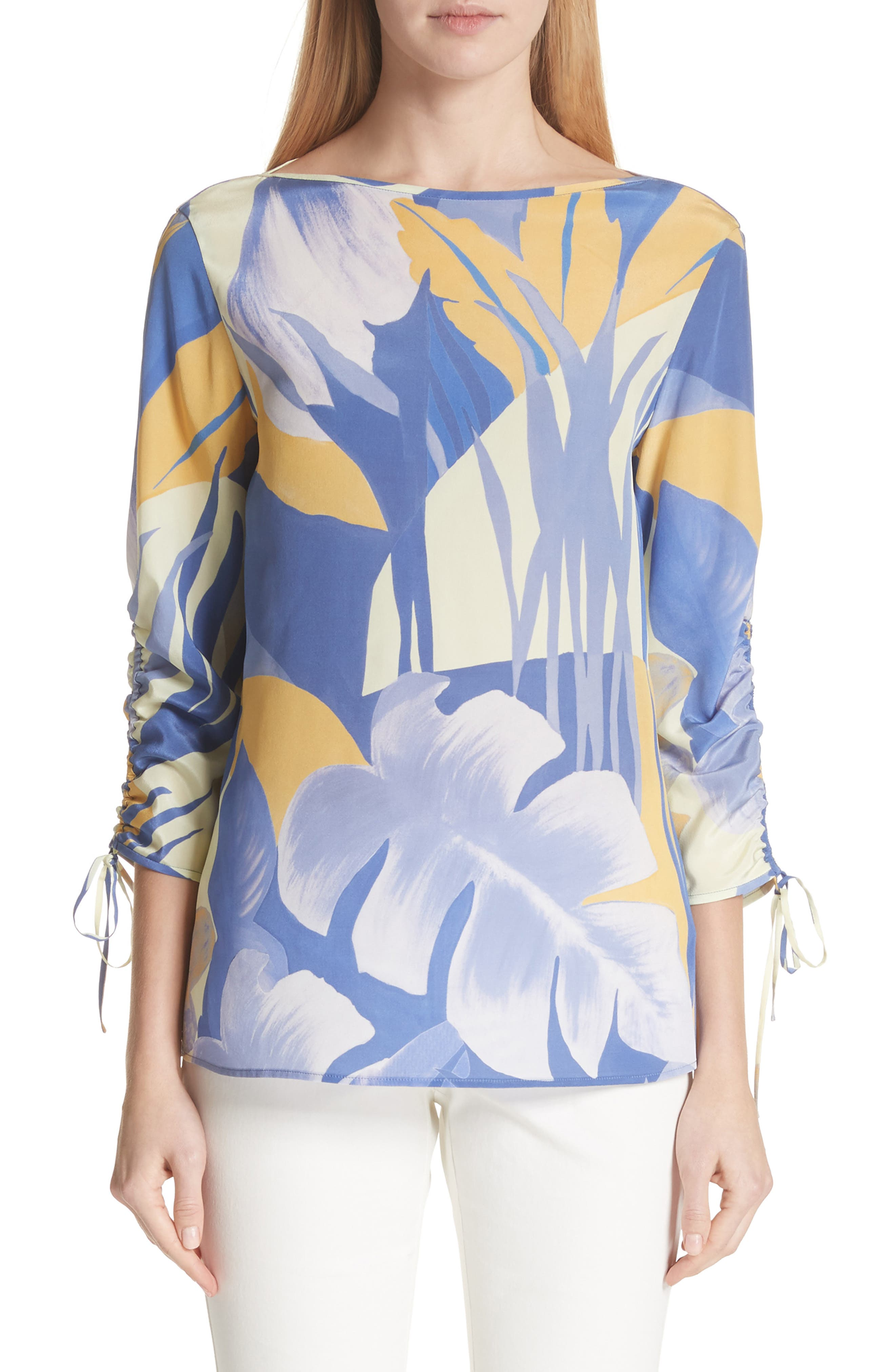 Georgina Print Silk Blouse,                         Main,                         color, Periwinkle Multi
