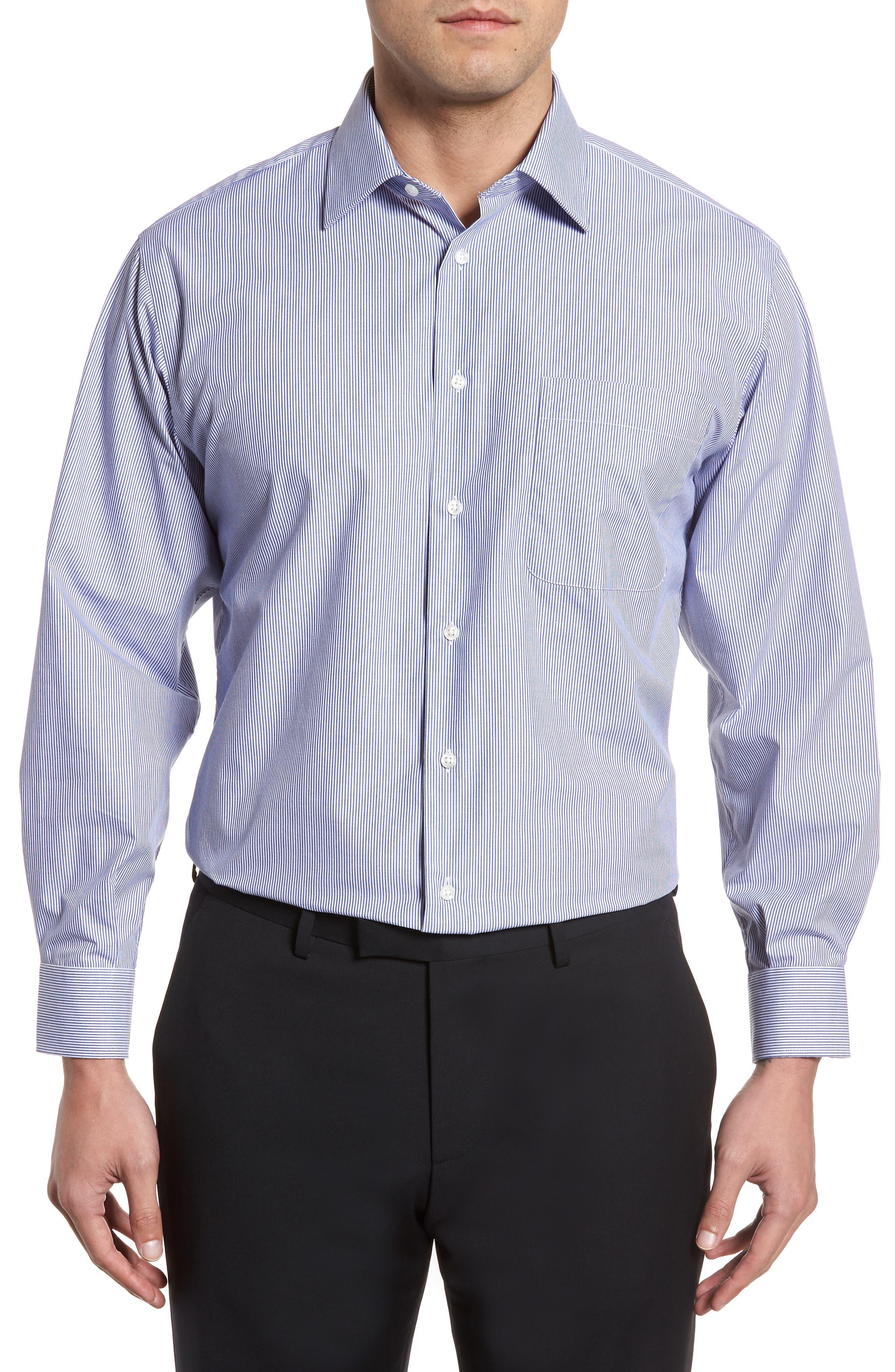 Classic Fit Non-Iron Stripe Dress Shirt,                         Main,                         color, Navy Dusk