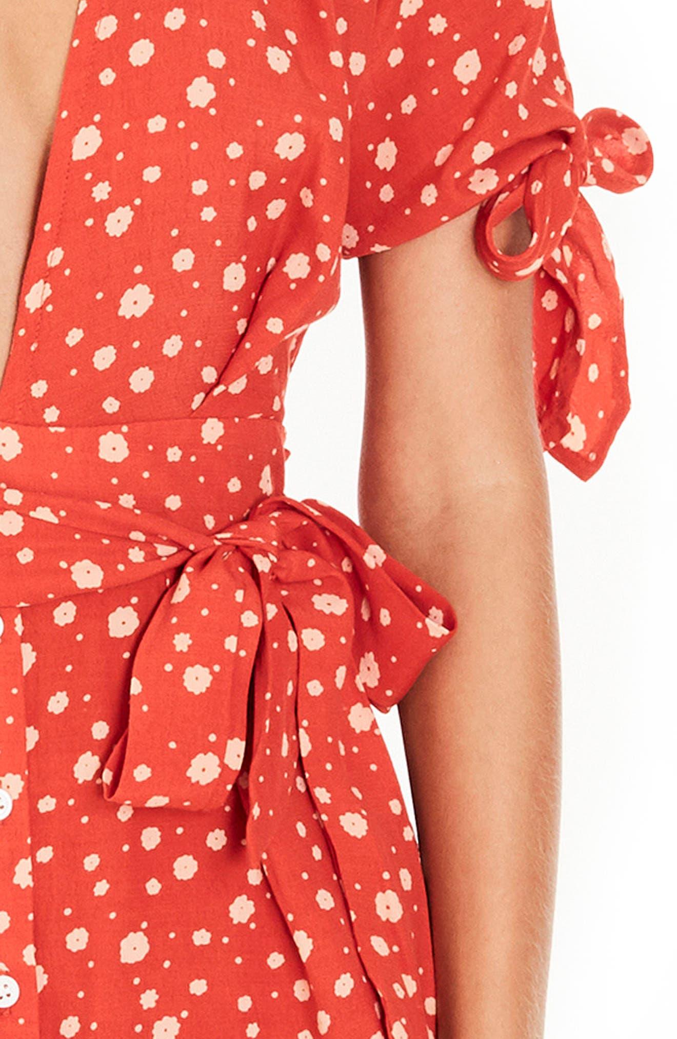 Brigit Tie Detail Dress,                             Alternate thumbnail 4, color,                             Cherry