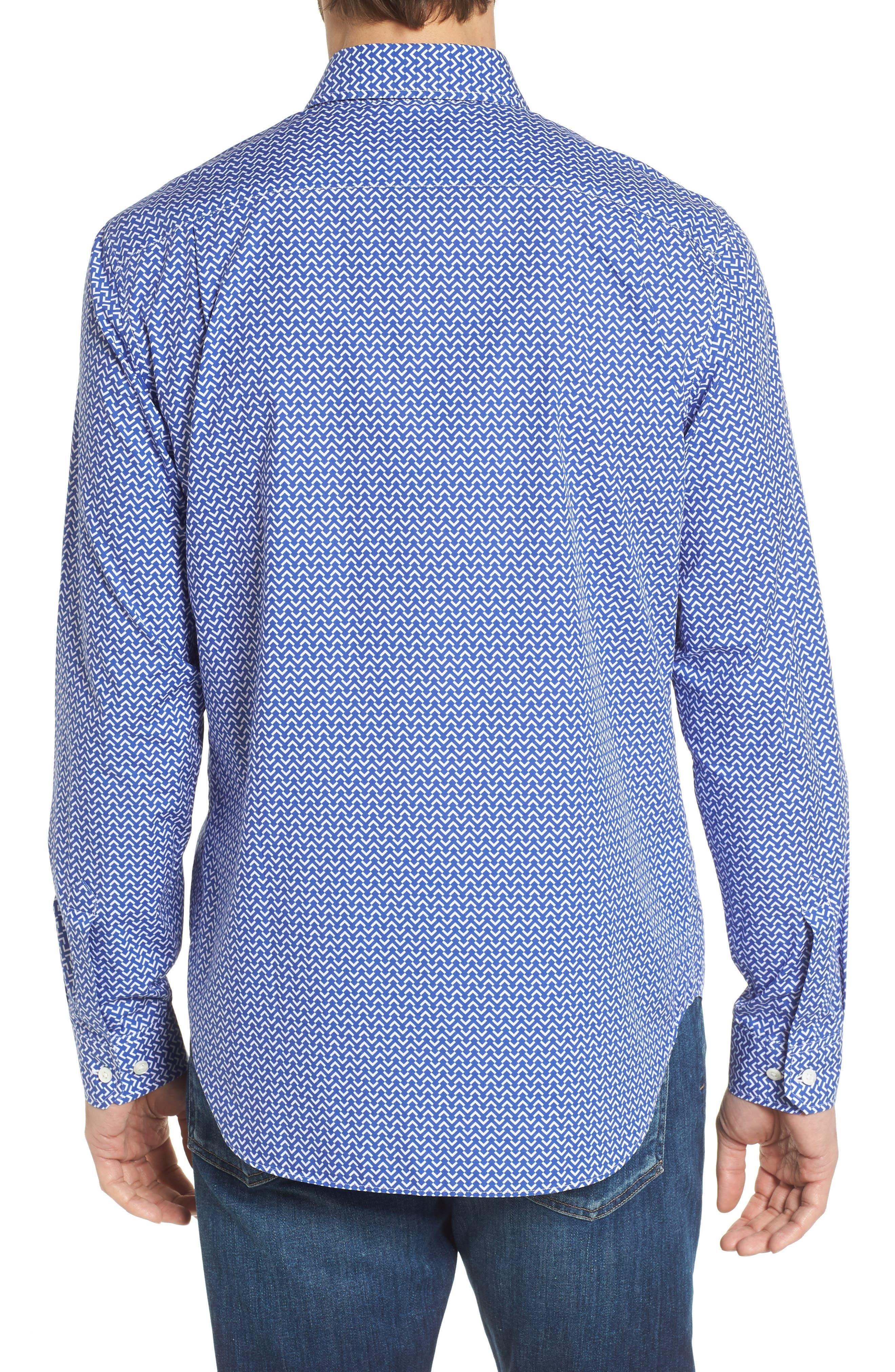 Premium Slim Fit Print Sport Shirt,                             Alternate thumbnail 3, color,                             Blue Wave