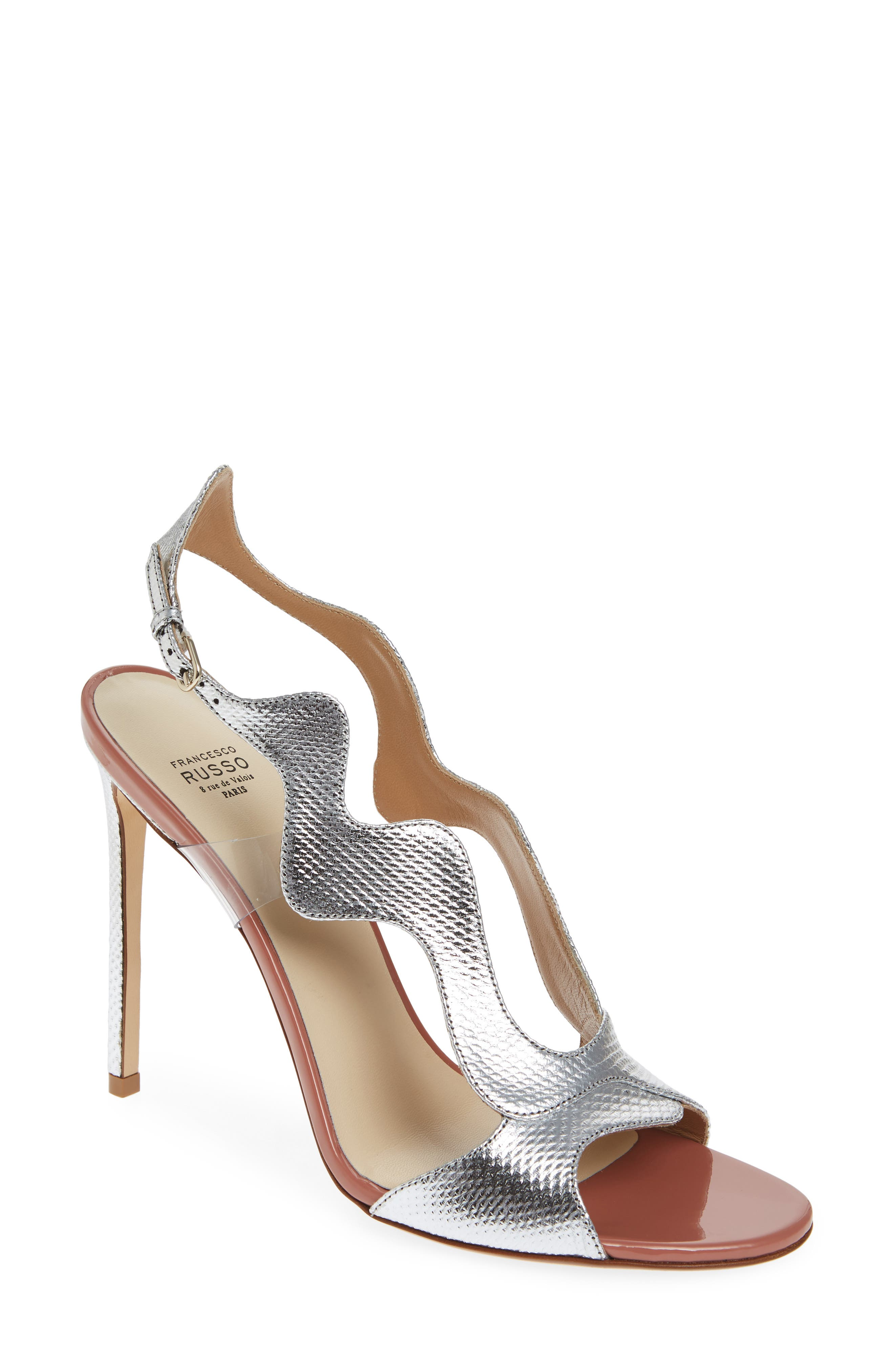Zigzag Sandal,                         Main,                         color, Silver