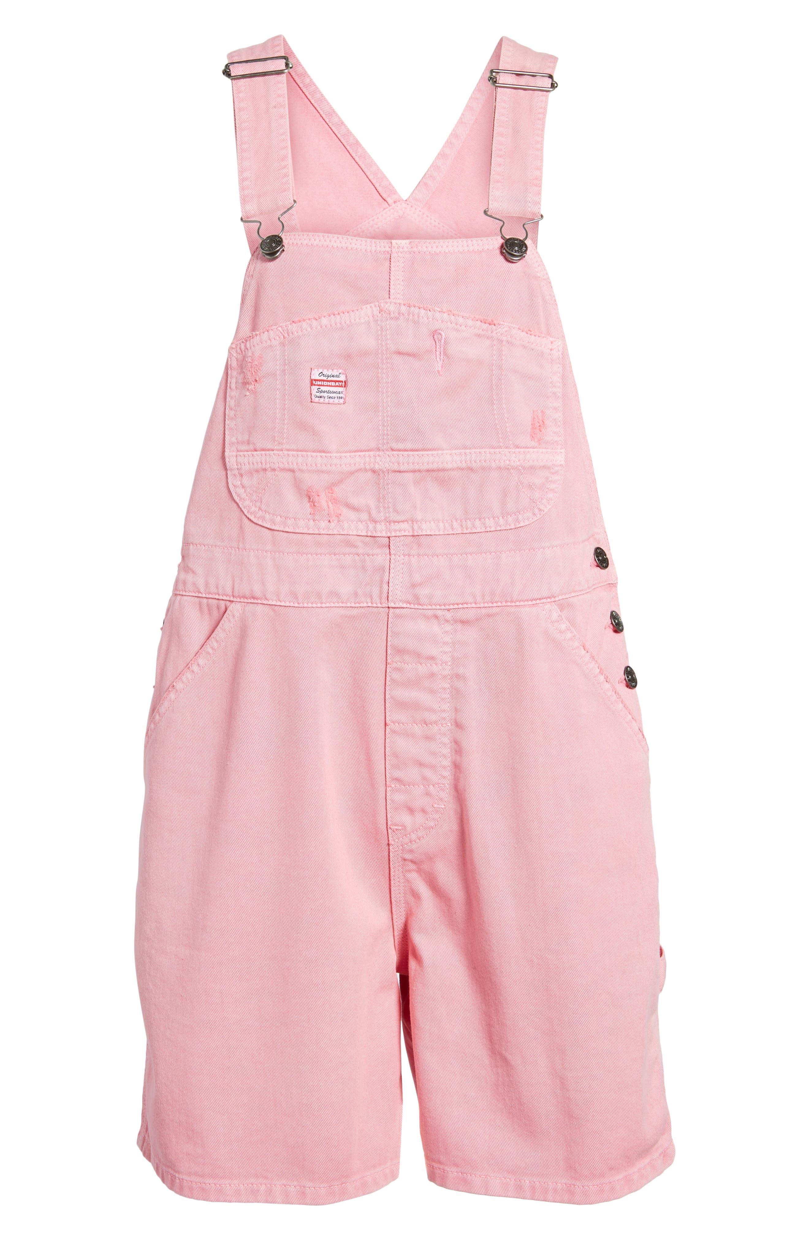 Unionbay Mario Denim Shortalls,                             Alternate thumbnail 6, color,                             Popsicle Pink