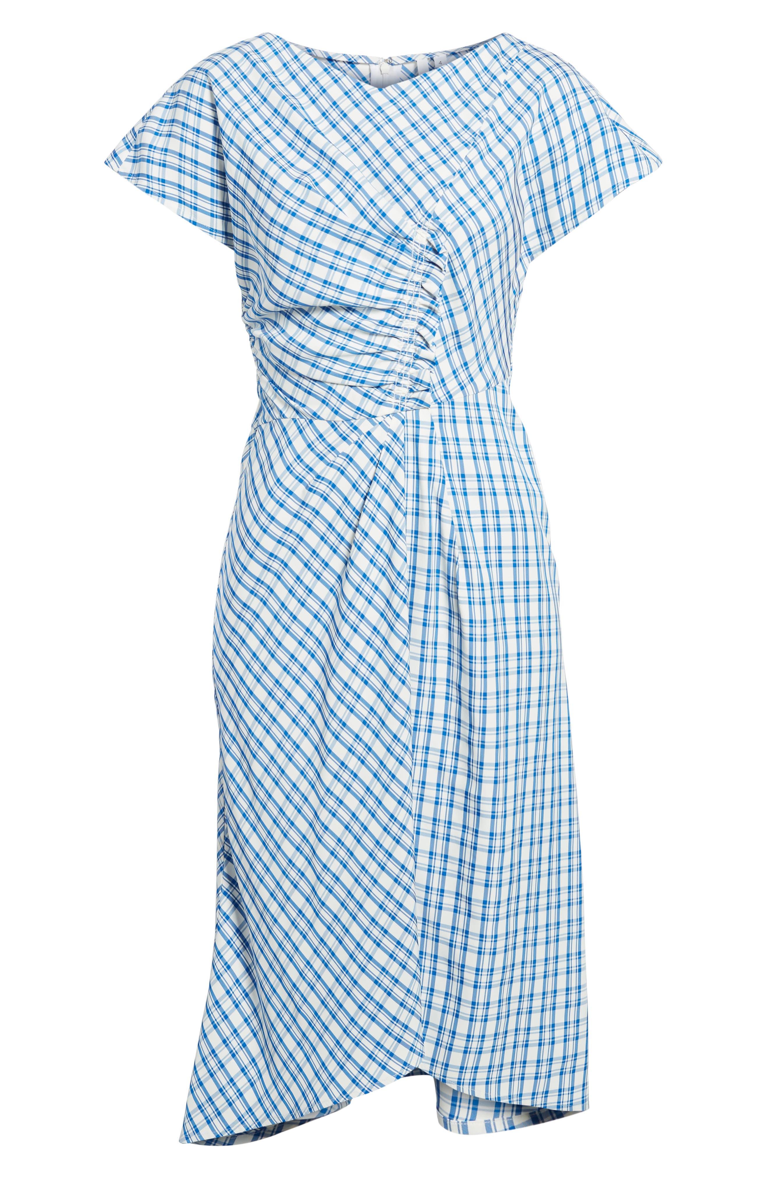 Ruched Check Midi Dress,                             Alternate thumbnail 6, color,                             Blue Sodalite Kasie Check