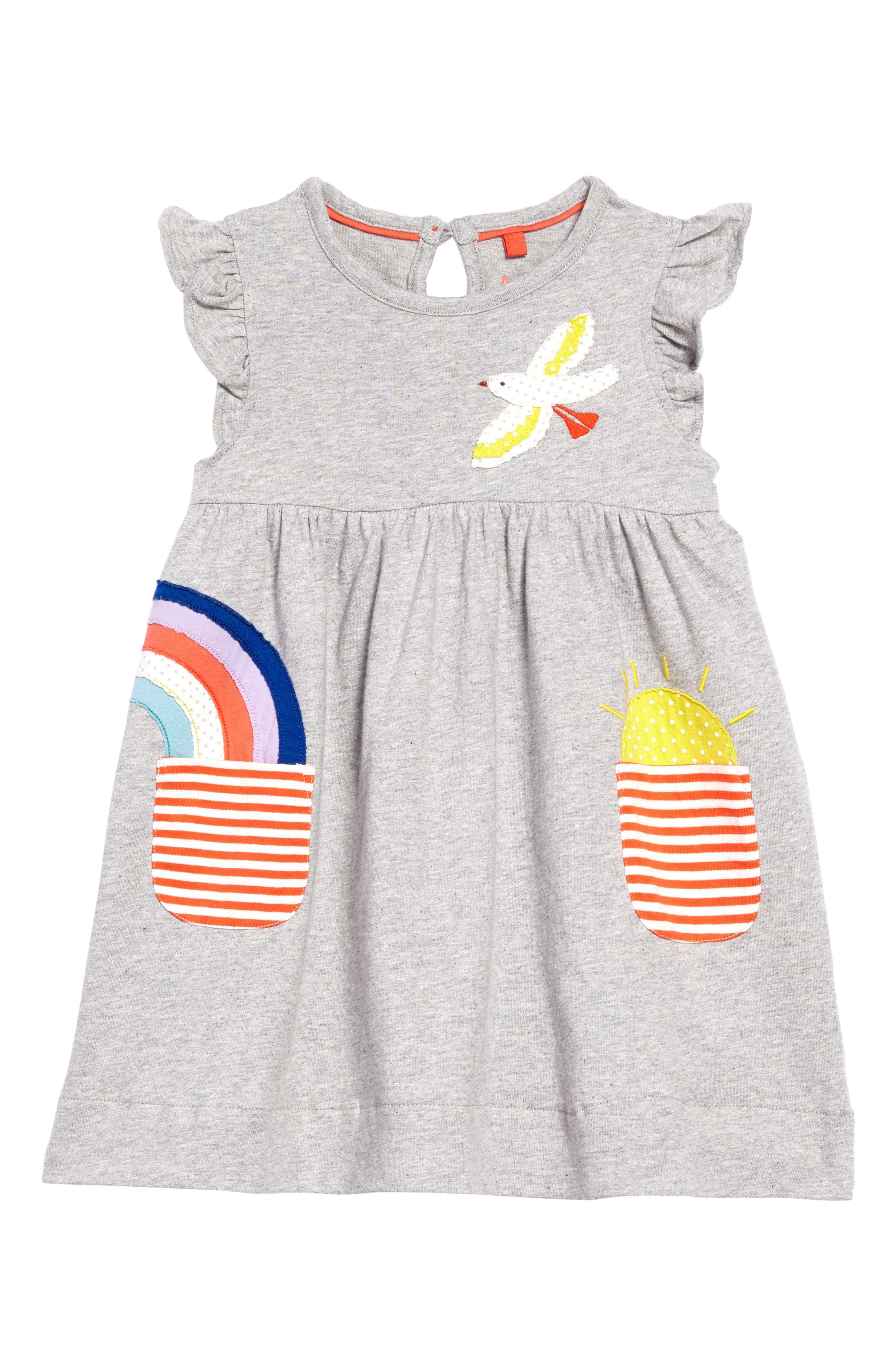 Appliqué Pocket Dress,                             Main thumbnail 1, color,                             Grey Marl