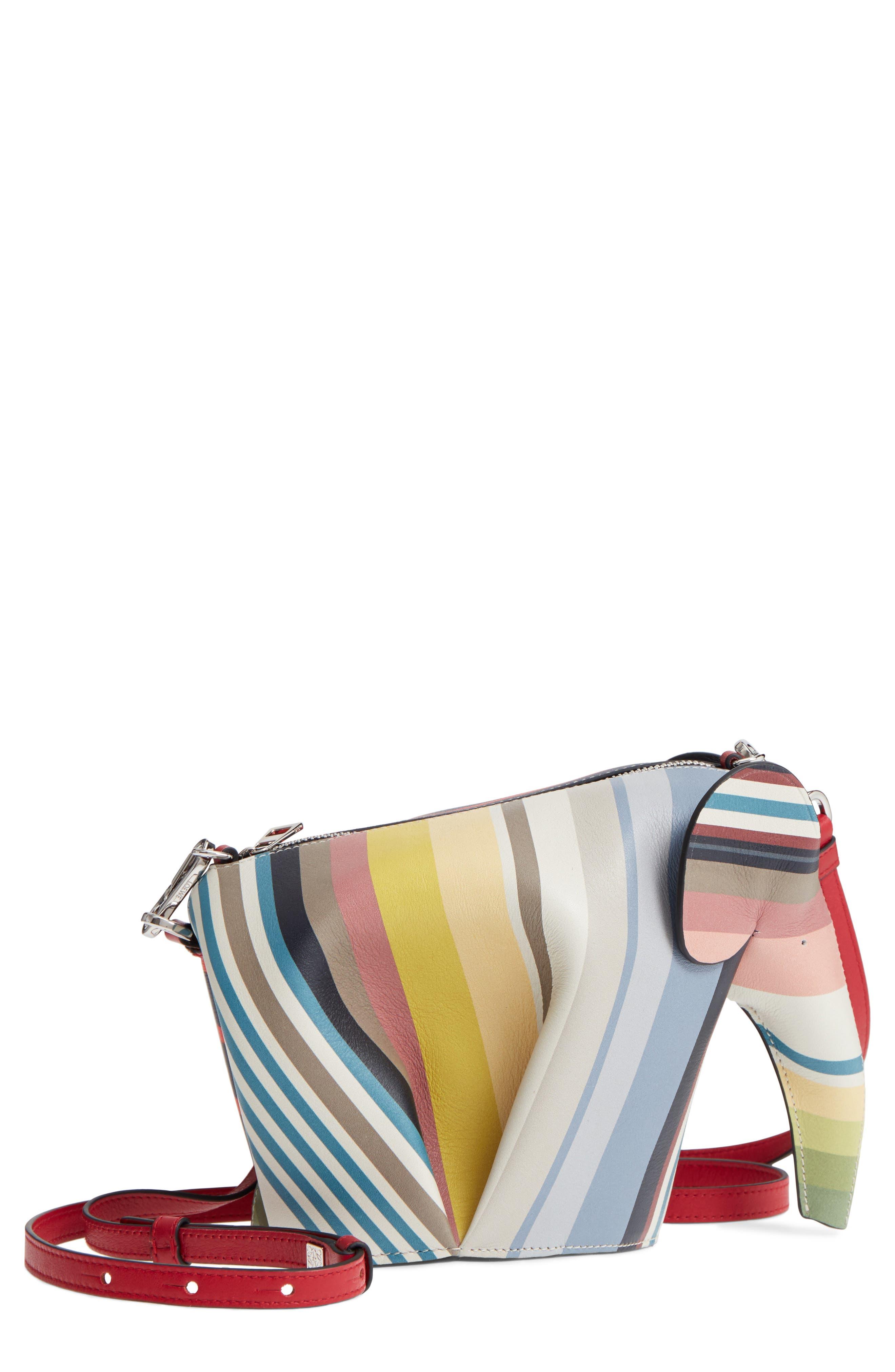 Mini Elephant Calfskin Leather Crossbody Bag,                         Main,                         color, Multicolour