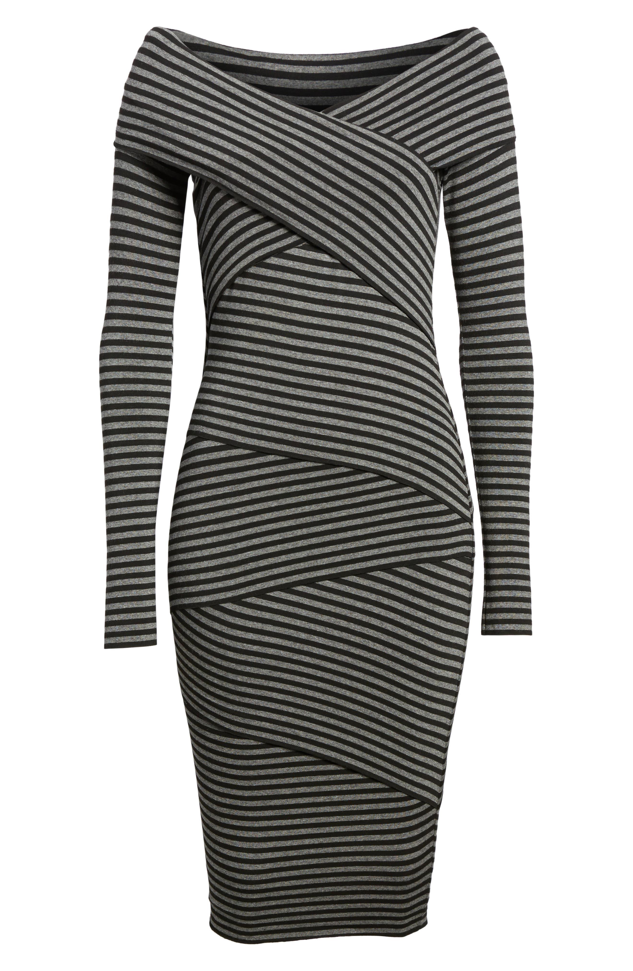 Edamame Body-Con Dress,                             Alternate thumbnail 6, color,                             Black Grey