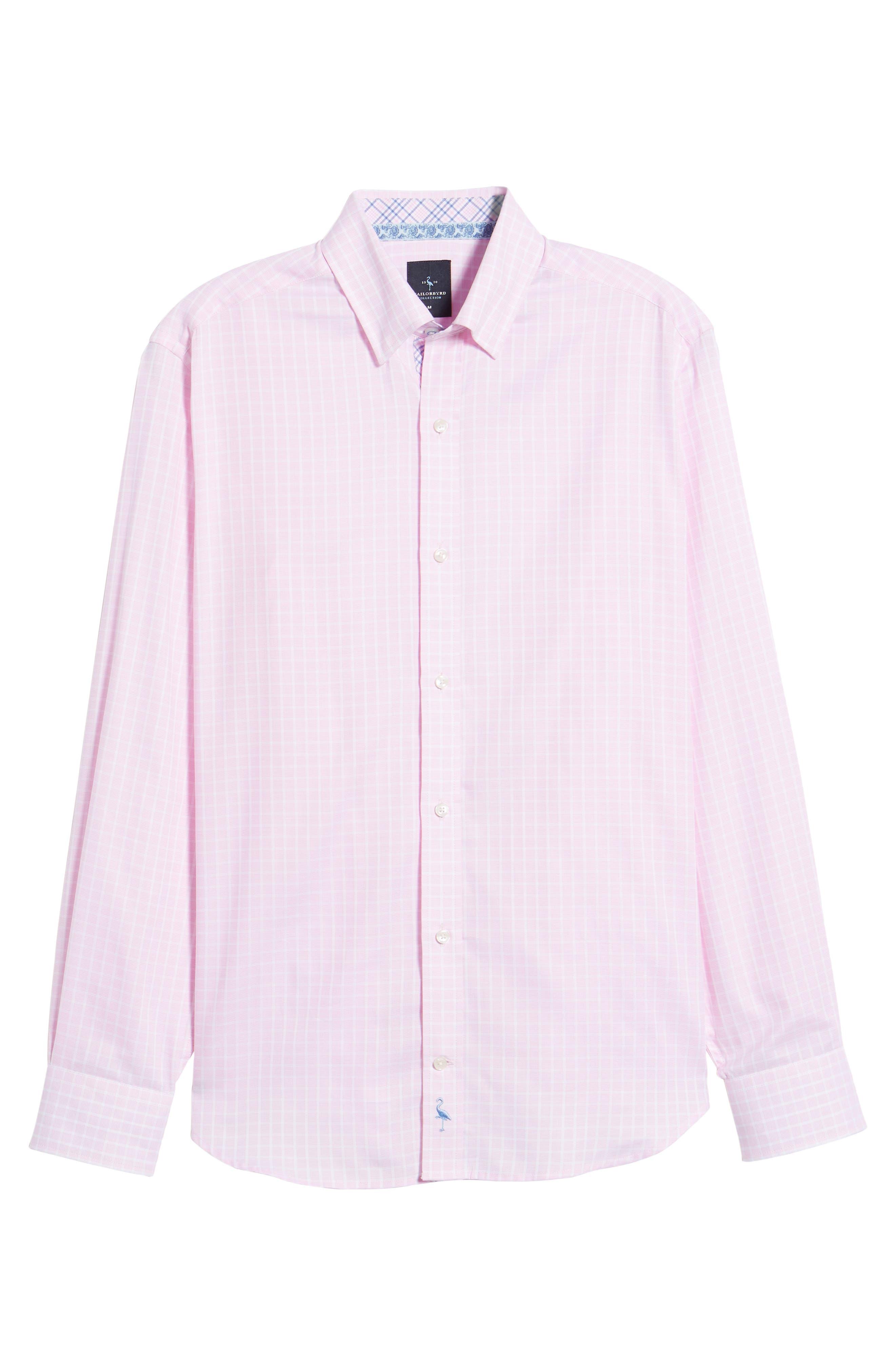Bela Regular Fit Grid Sport Shirt,                             Alternate thumbnail 6, color,                             Pink